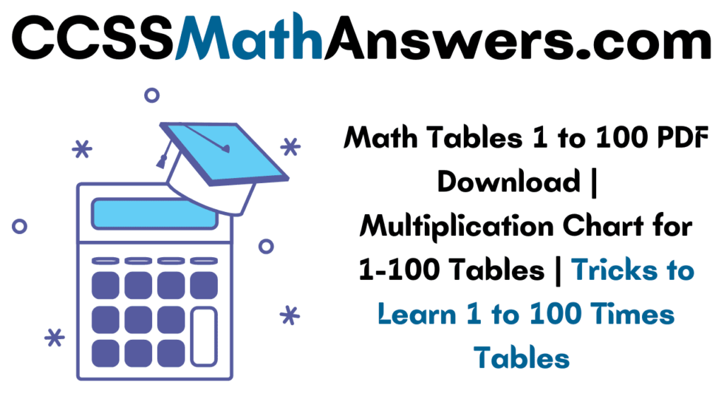 Math Tables 1 to 100