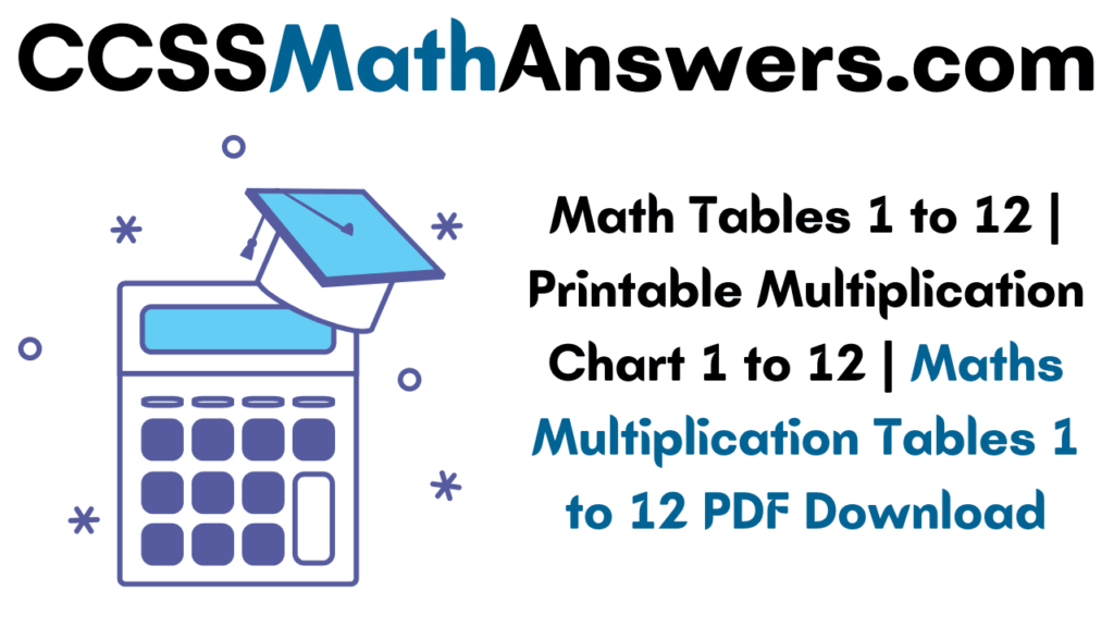 Math Tables 1 to 12
