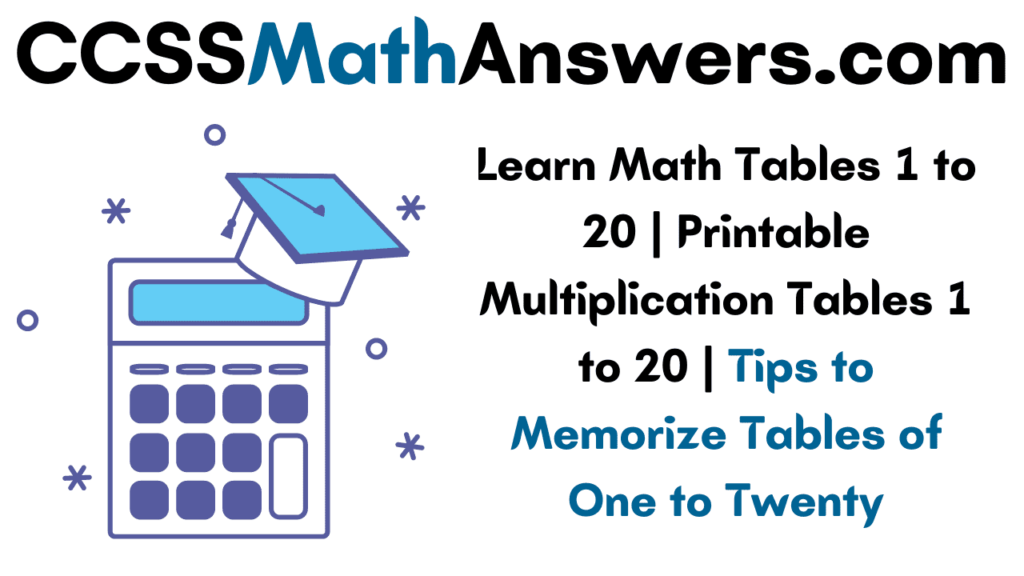 Math Tables 1 to 20
