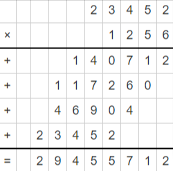 example on multiplication of large numbers