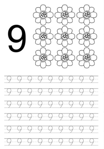 Worksheet on Number 9