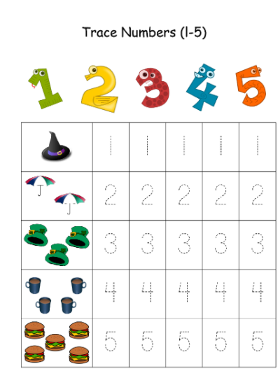 Worksheets on Tracing Numbers from 1 to 5