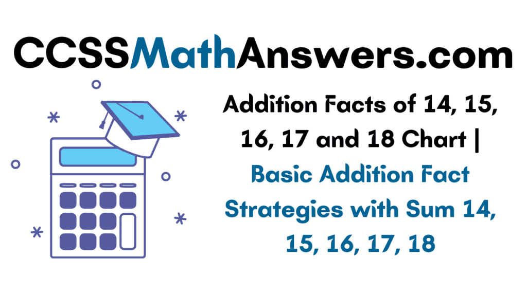 Addition Facts of 14 15 16 17 and 18