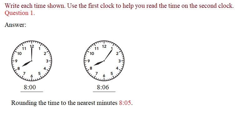 Everyday-Mathematics-3rd-Grade-Answer-Key-Unit-1-Math-Tools,-Time,-and-Multiplication-Everyday-Math-Grade-3-Home-Link-1.5-Answer-Key-Telling-Time-to-the-Nearest-Minute-Question-1