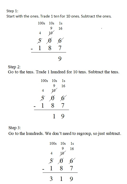 Everyday-Mathematics-4th-Grade-Answer-Key-Unit-1-Place-Value-Multidigit-Addition-and-Subtraction-Everyday-Math-Grade-4-Home-Link-1.9-Answer-Key-U.S.-Traditional-Subtraction-Question-3