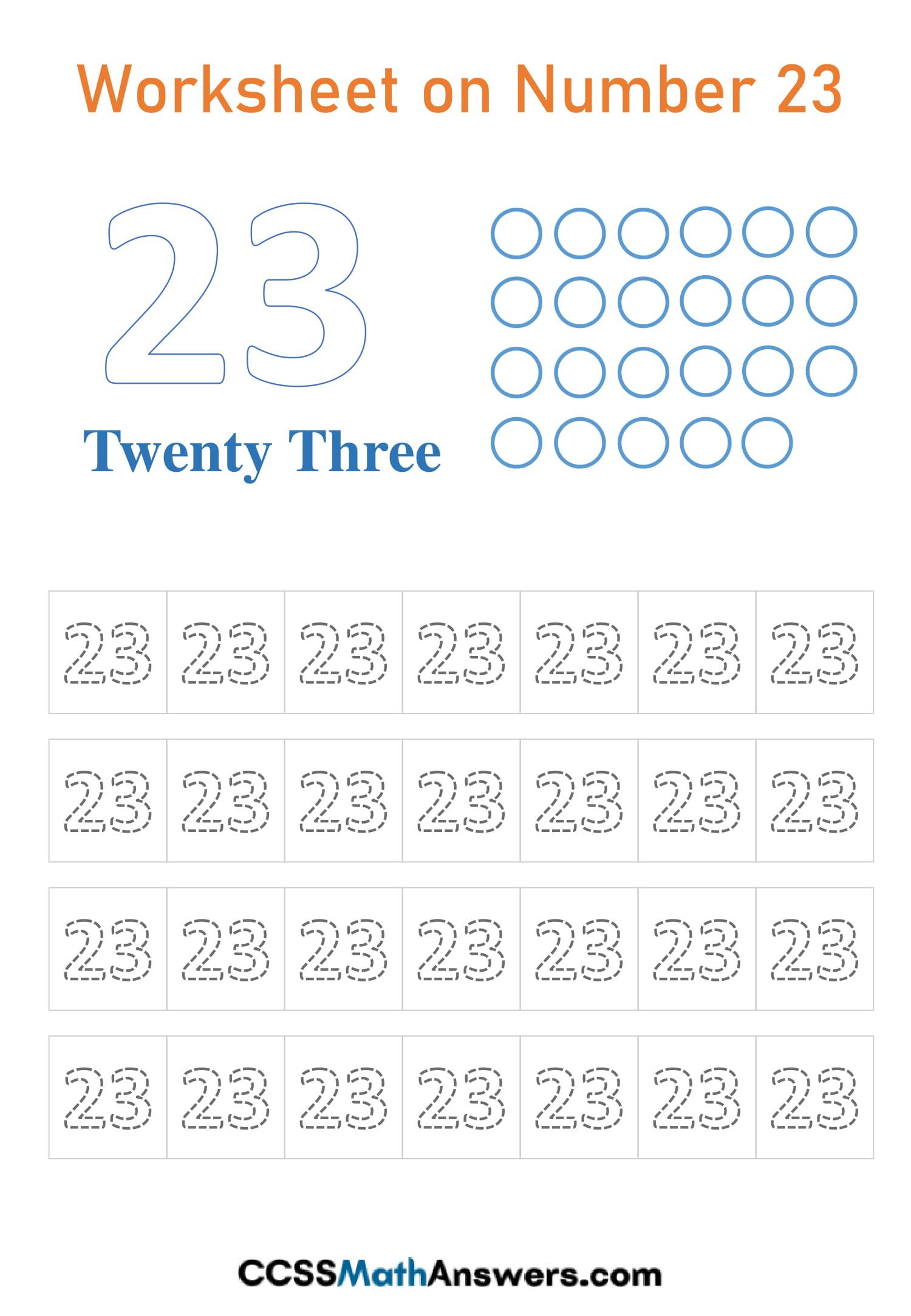 Number 23 Worksheet