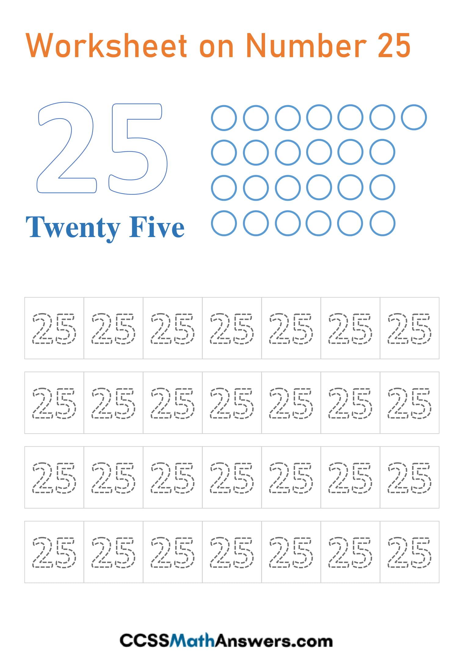 Number 25 Worksheet