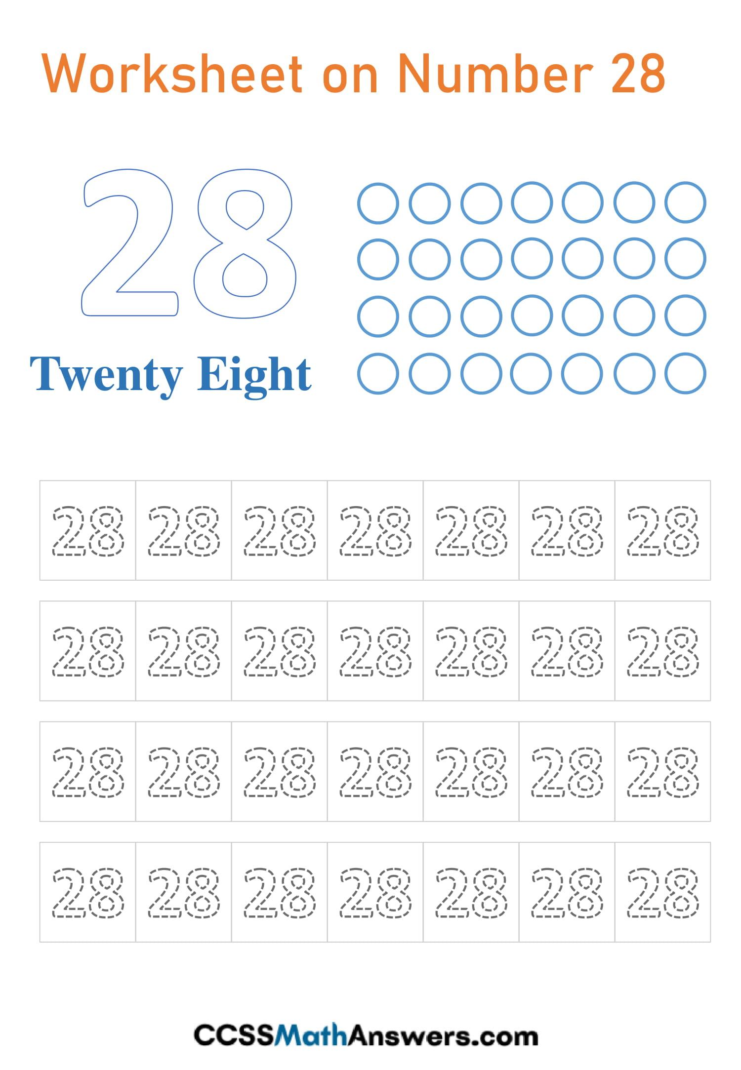 Number 28 Worksheet