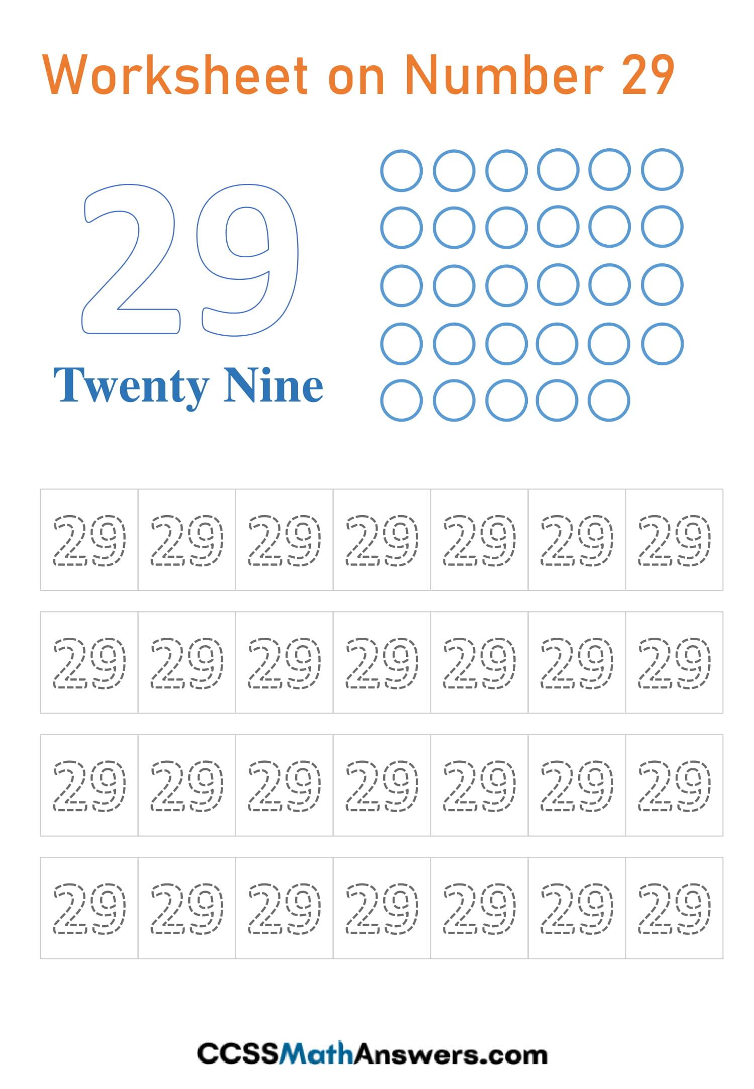 Number 29 Worksheet
