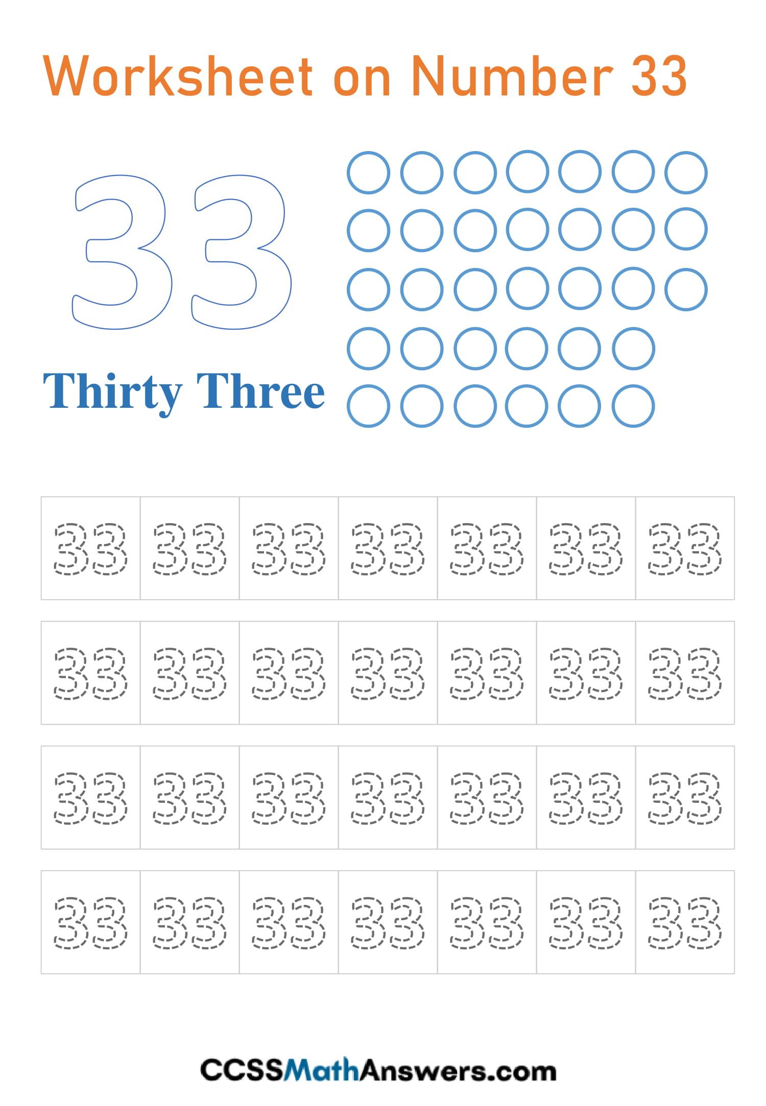 Number 33 Worksheet