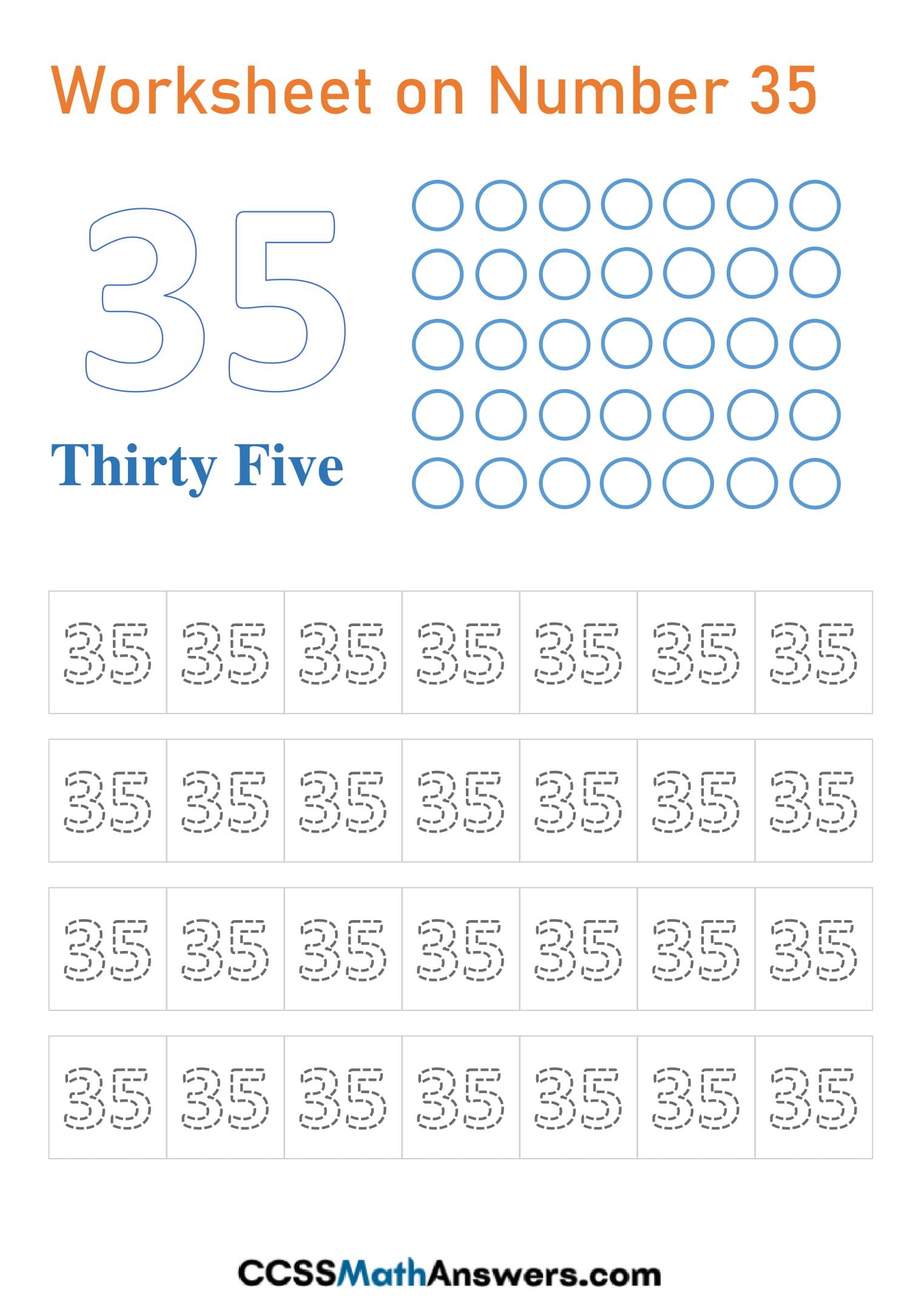 Number 35 Worksheet