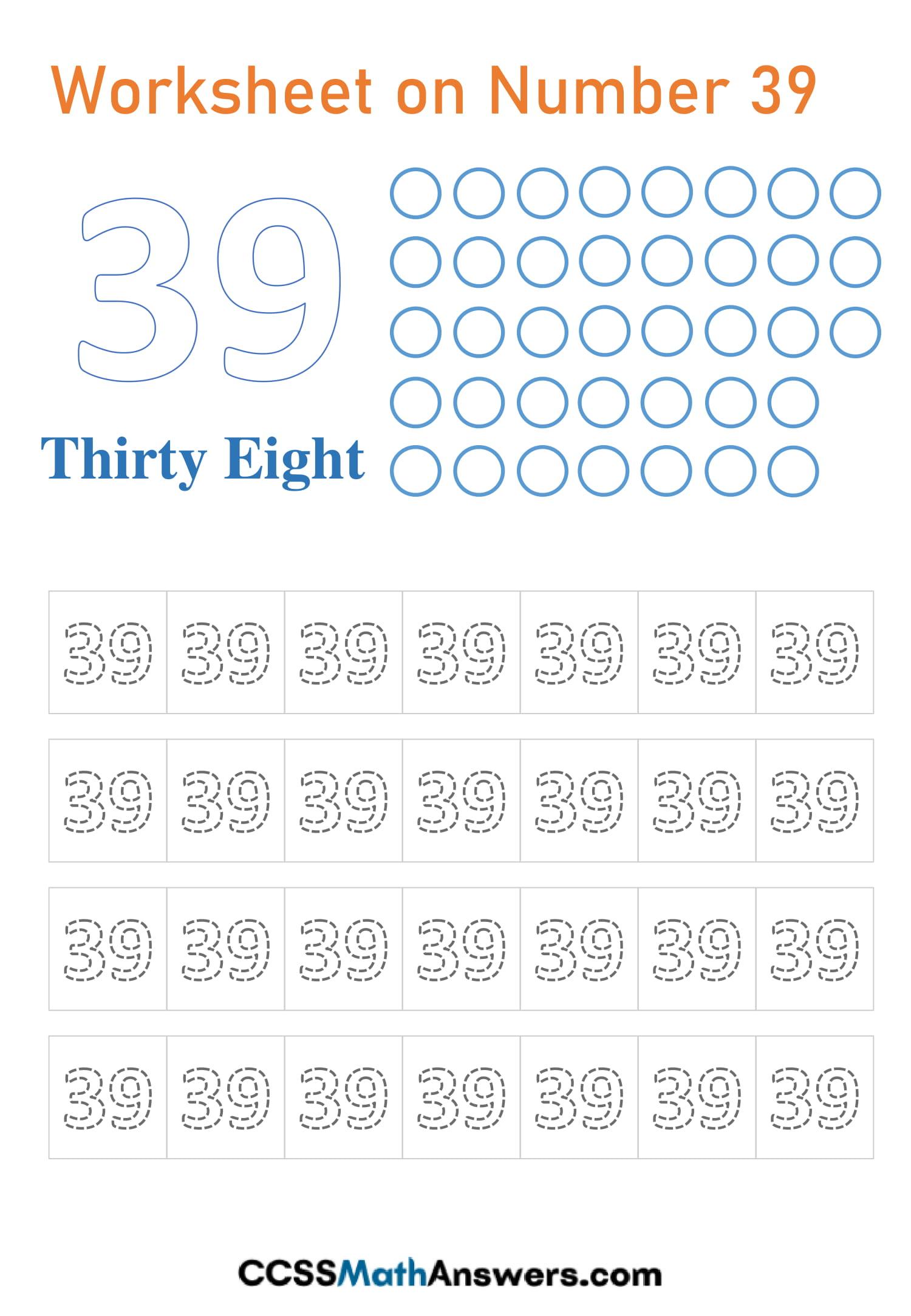 Number 39 Worksheet