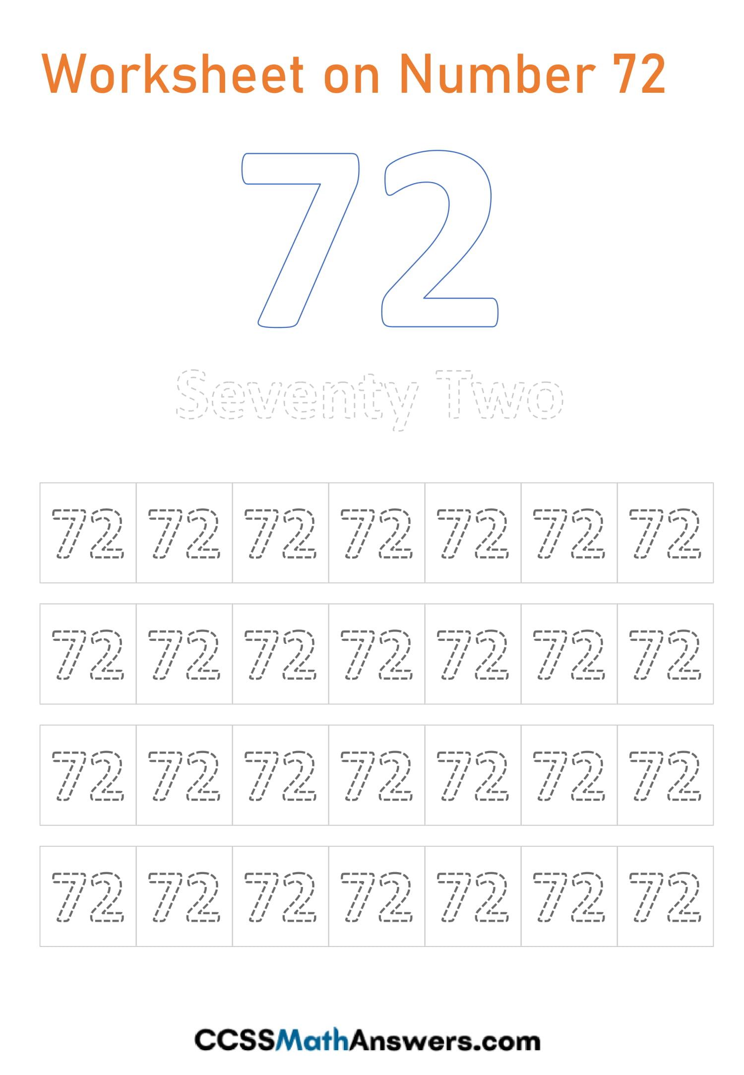 Number 72 Worksheet