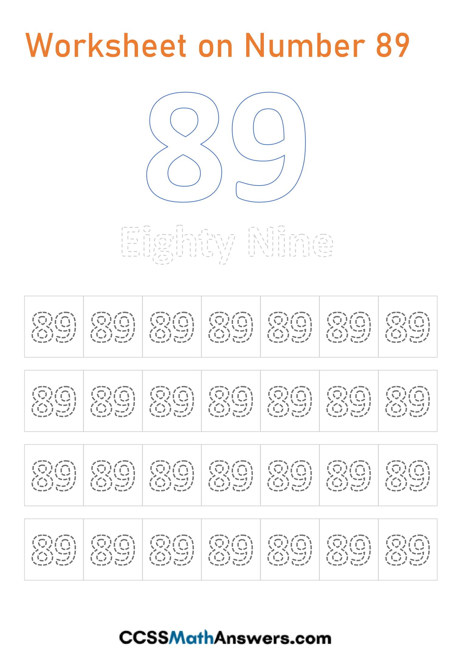 Number 89 Worksheet