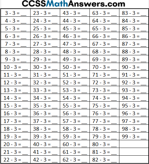 Subtracting 3 Worksheet with Answers