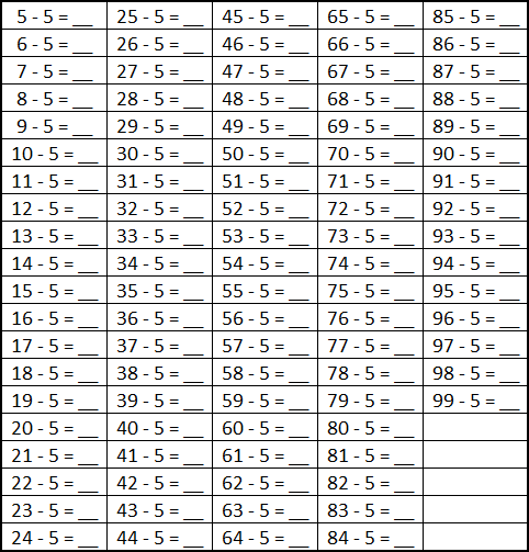 Subtracting 5 Worksheet with Answers