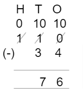 Subtracting Placing the Numbers Example 4