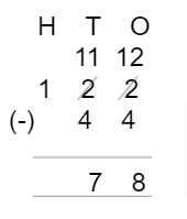 Subtraction Placing the Numbers Example 3