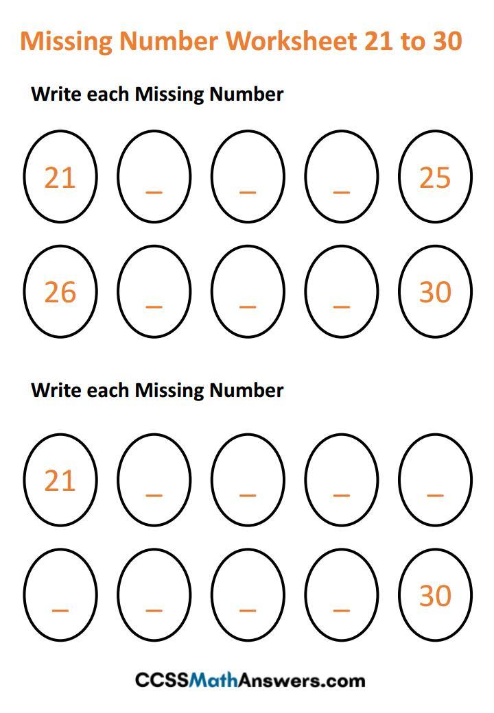 Worksheet on Missing Numbers 21 - 30
