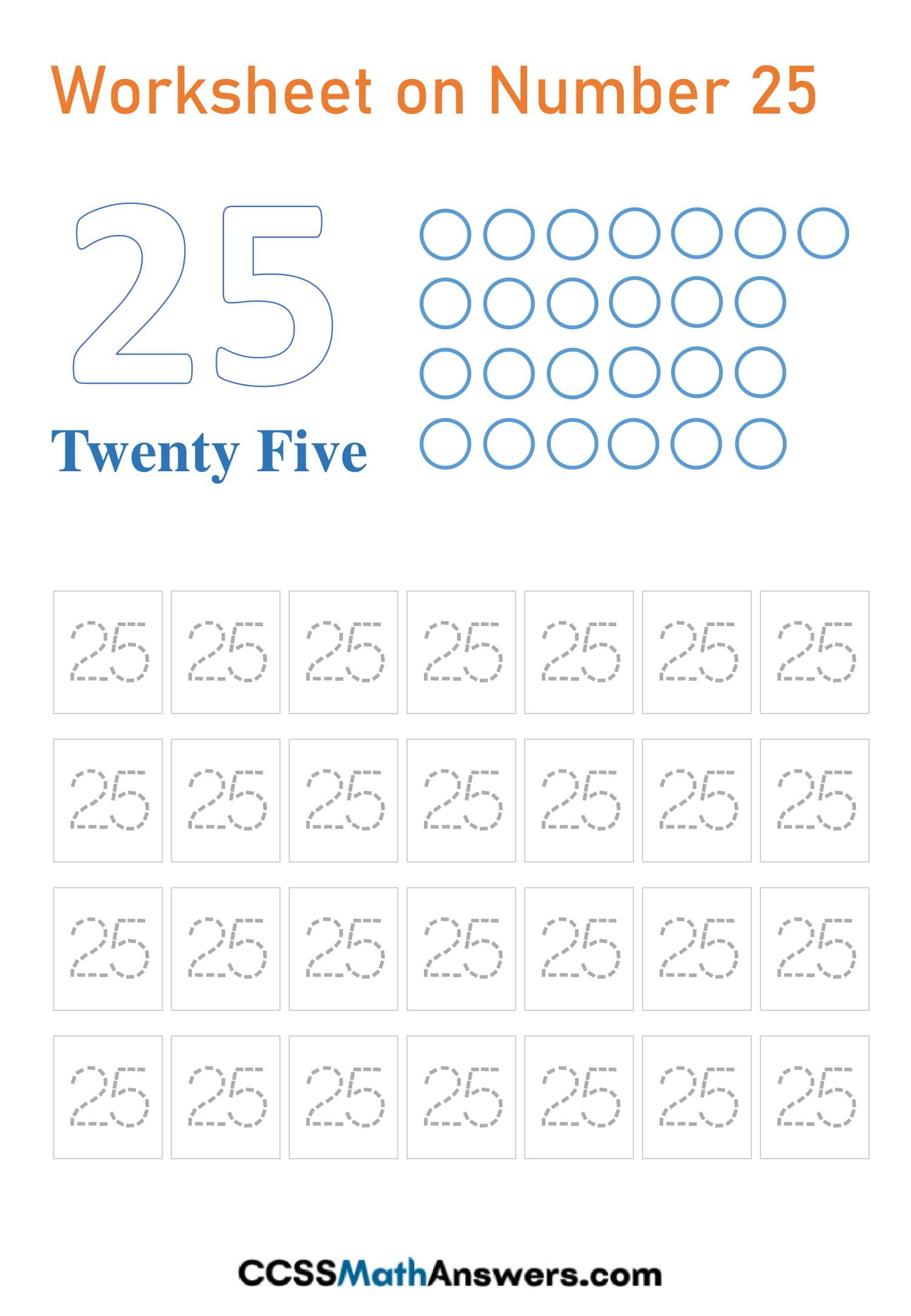 Worksheet on Number 25