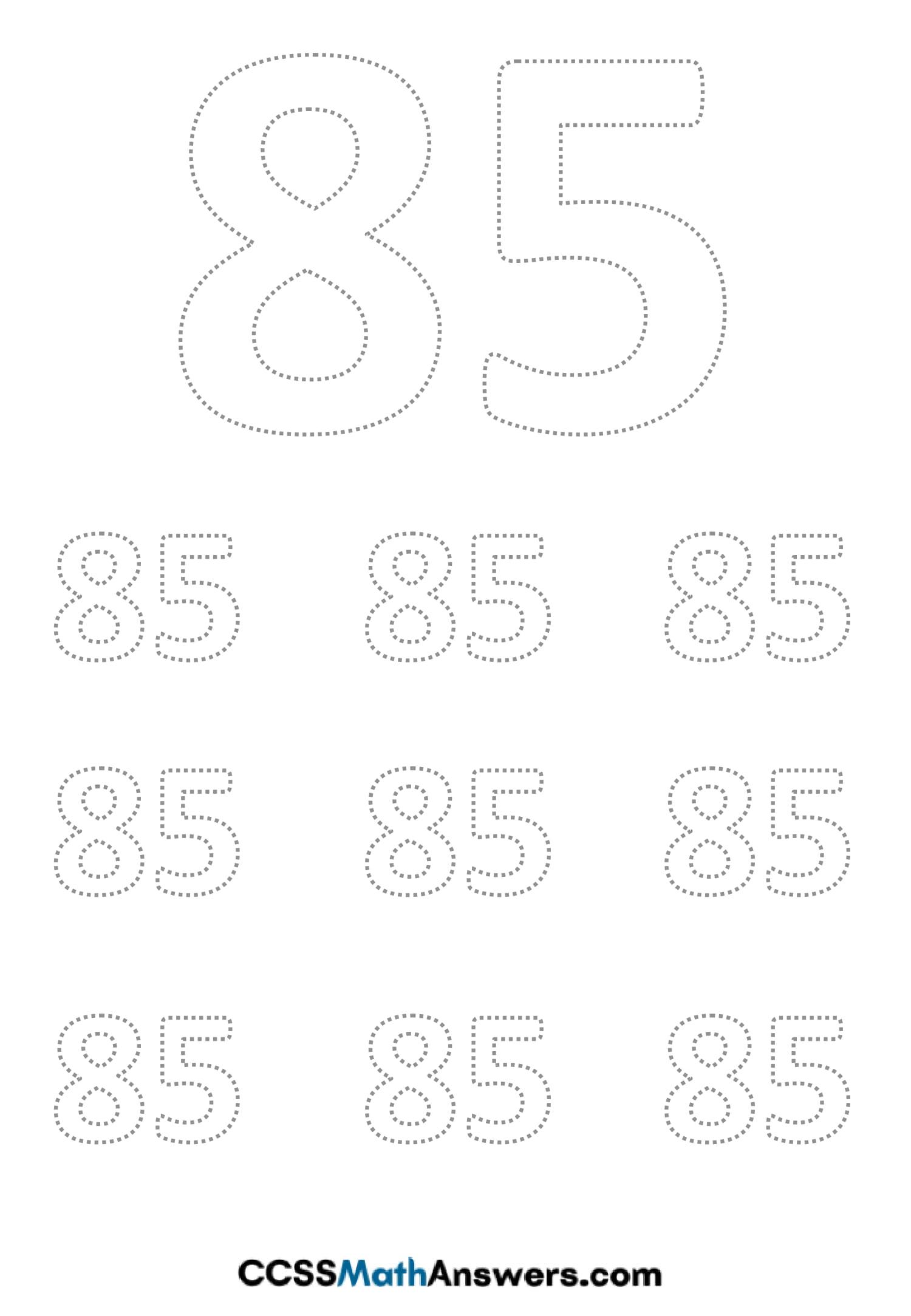 Worksheet on Number Eighty Five