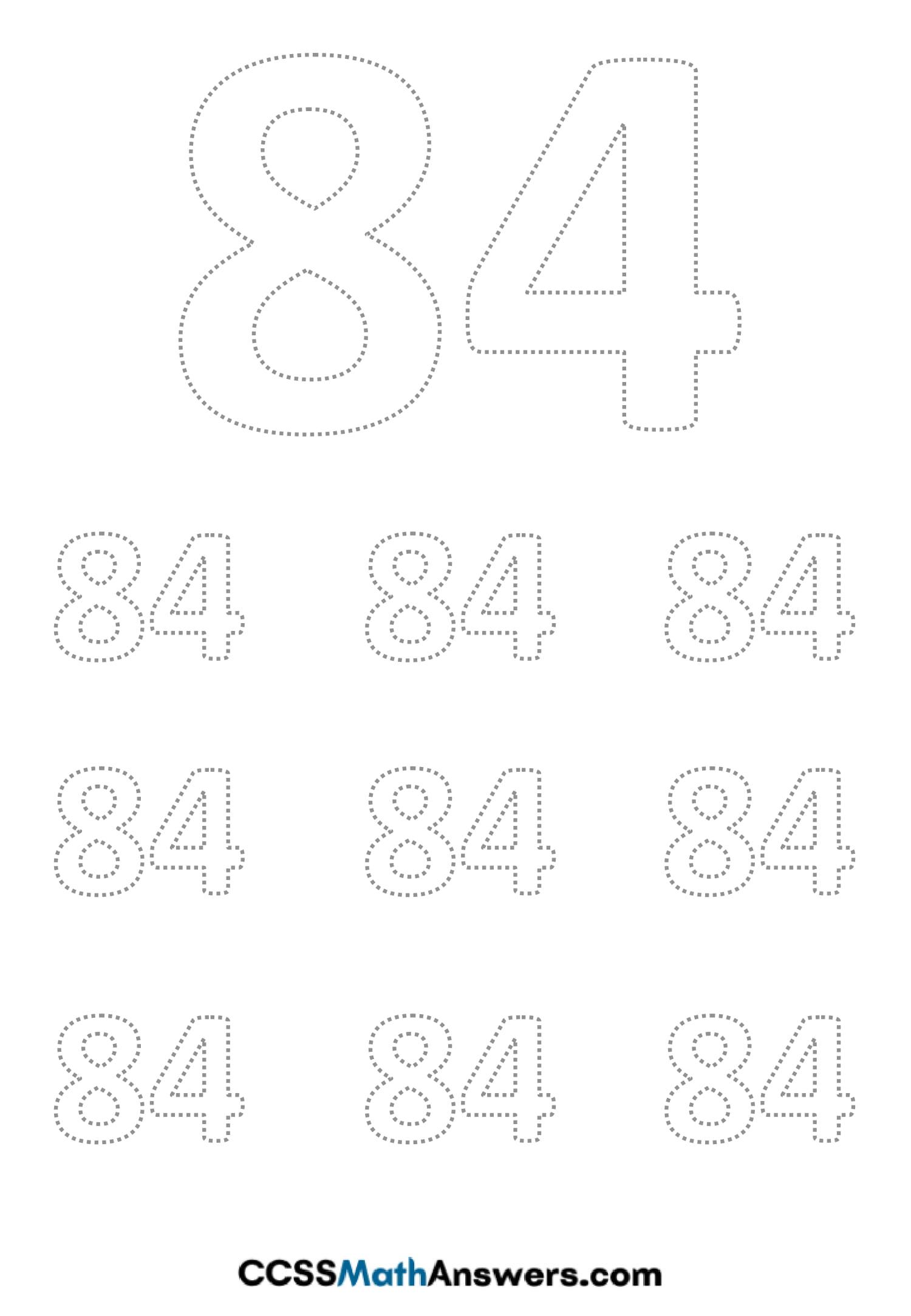 Worksheet on Number Eighty Foru