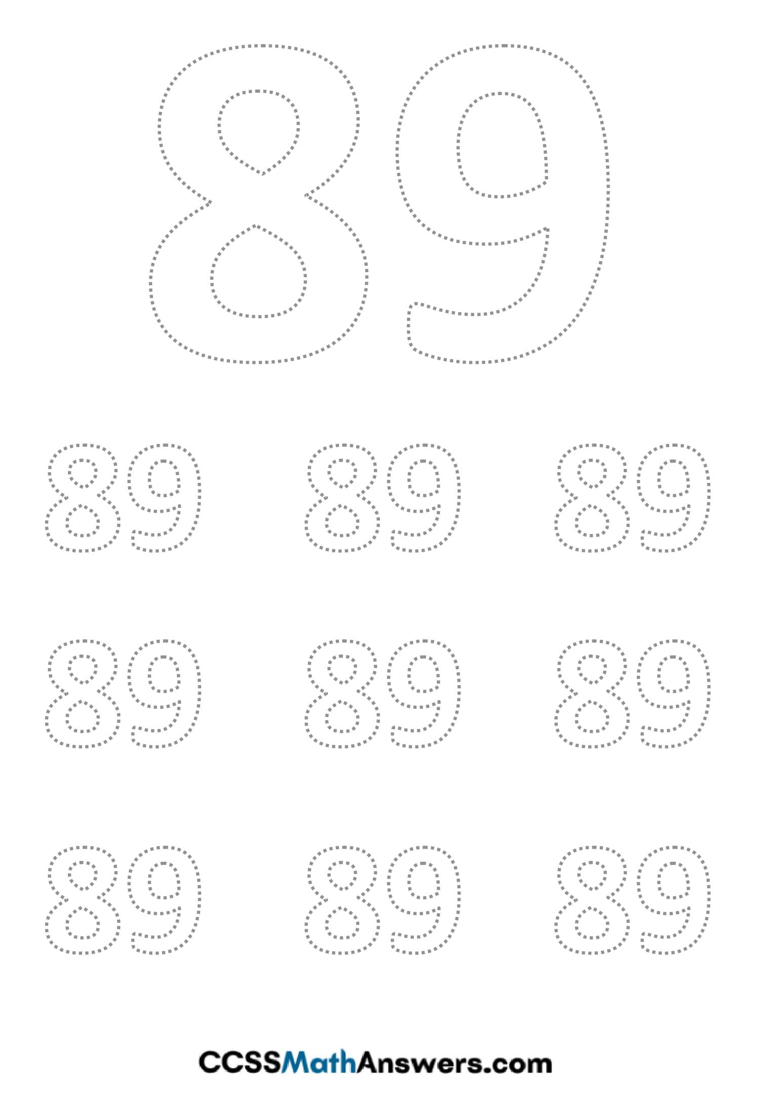 Worksheet on Number Eighty Nine