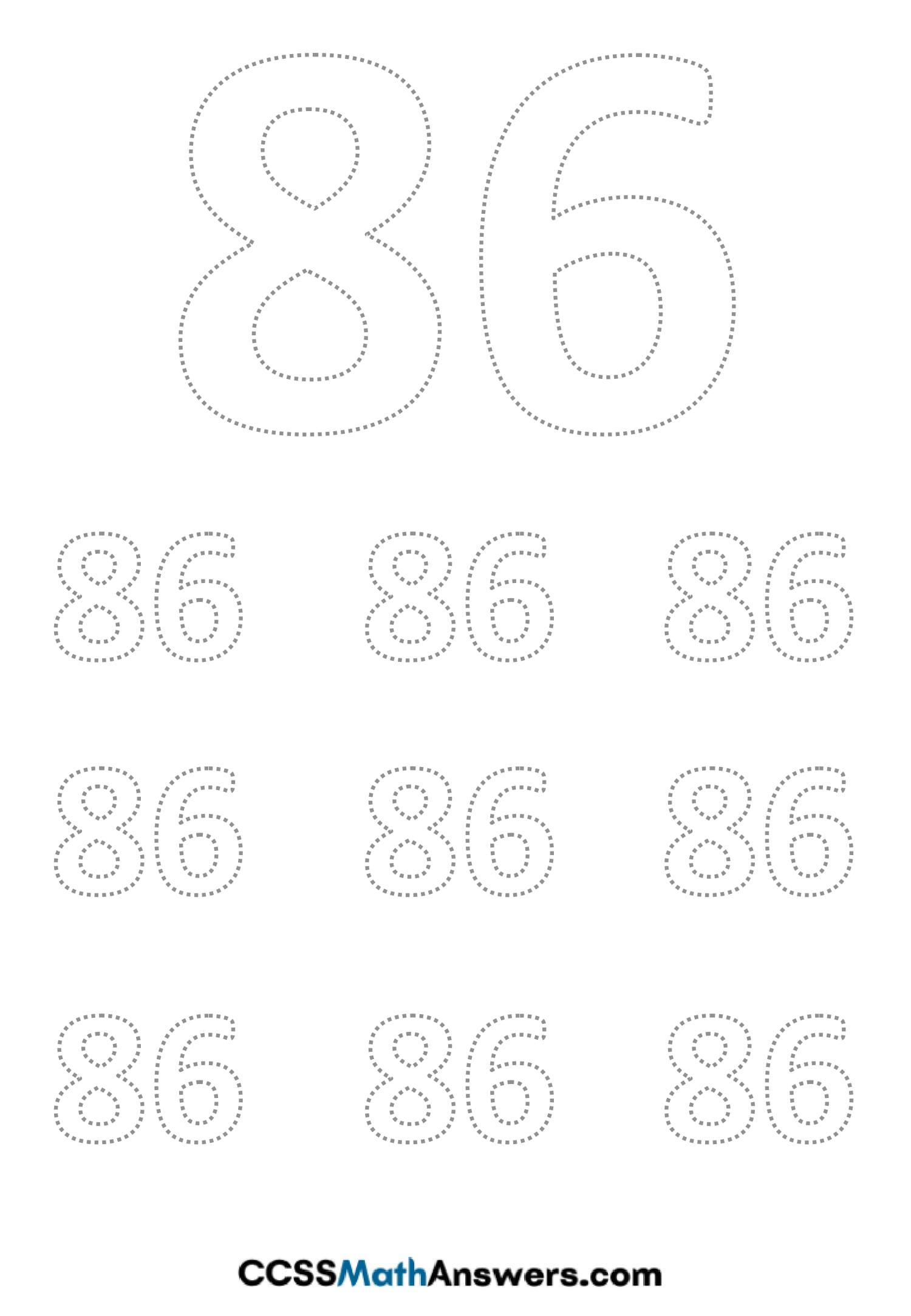 Worksheet on Number Eighty Six