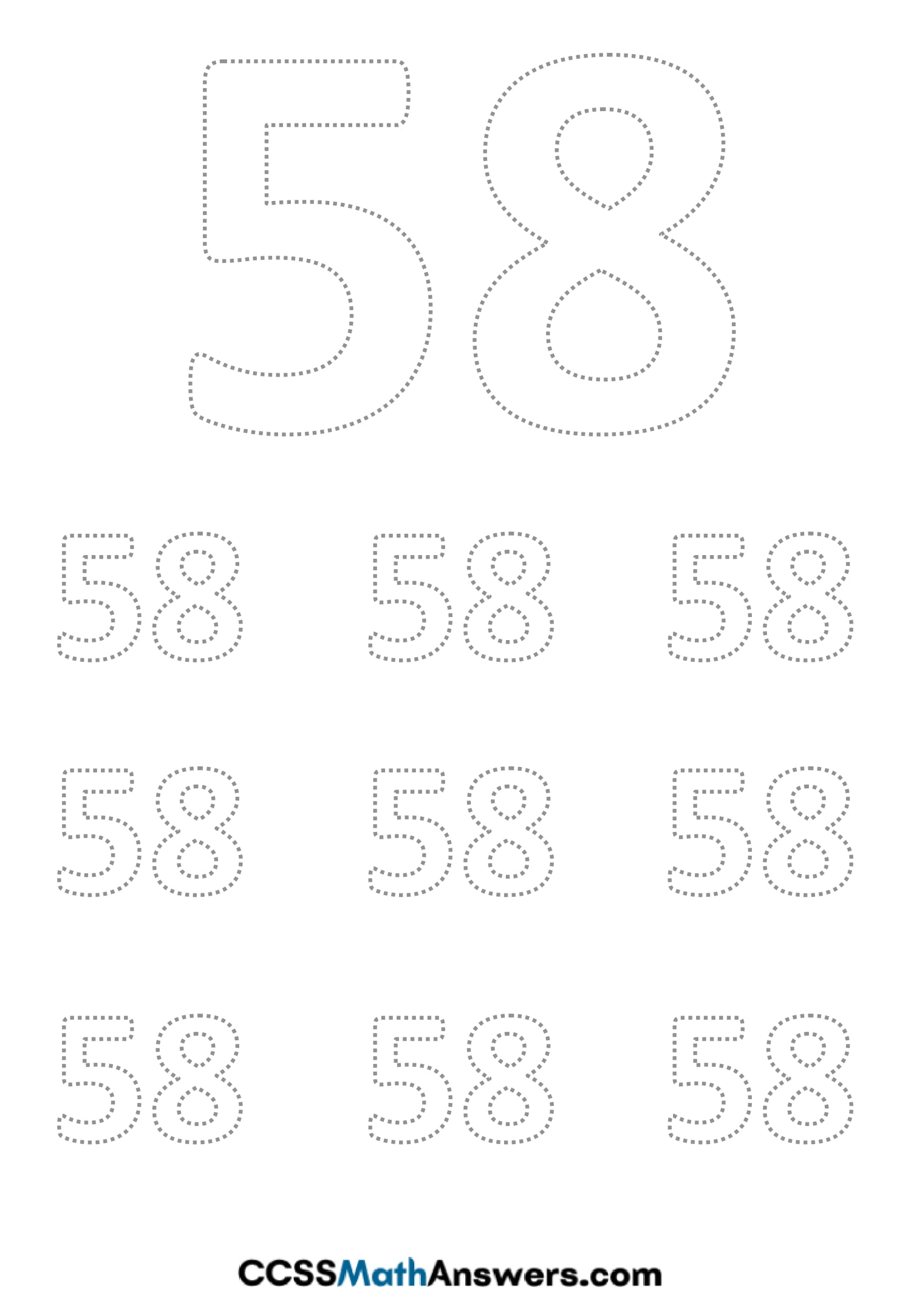 Worksheet on Number Fifty Eight