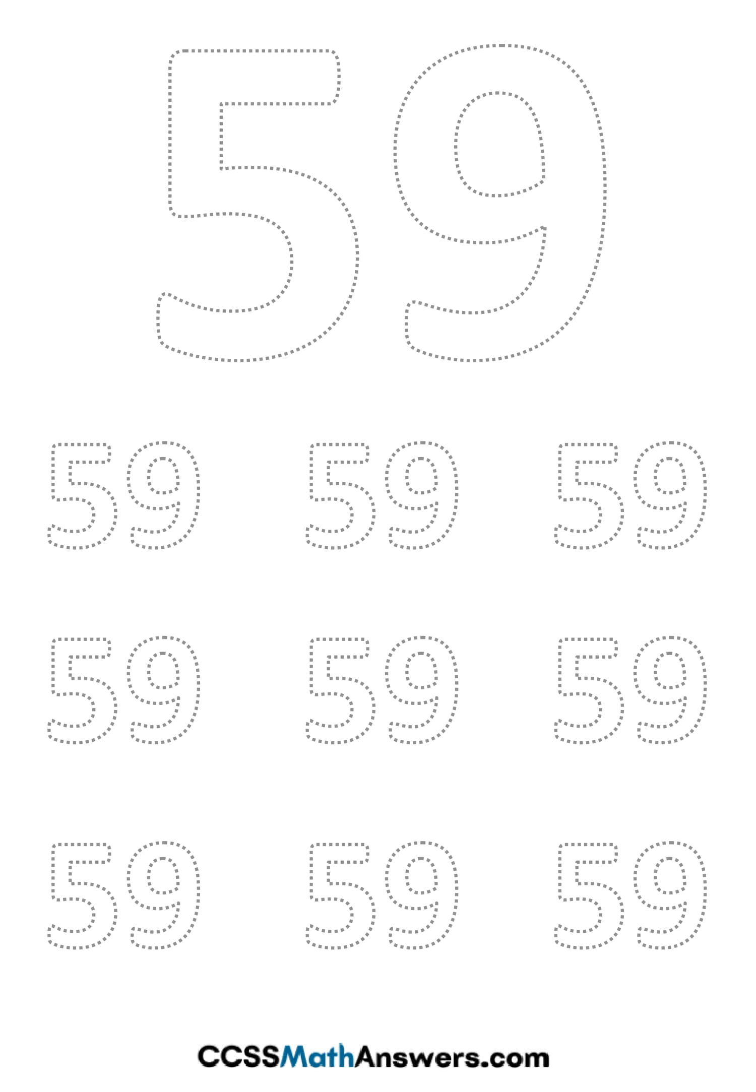 Worksheet on Number Fifty Nine