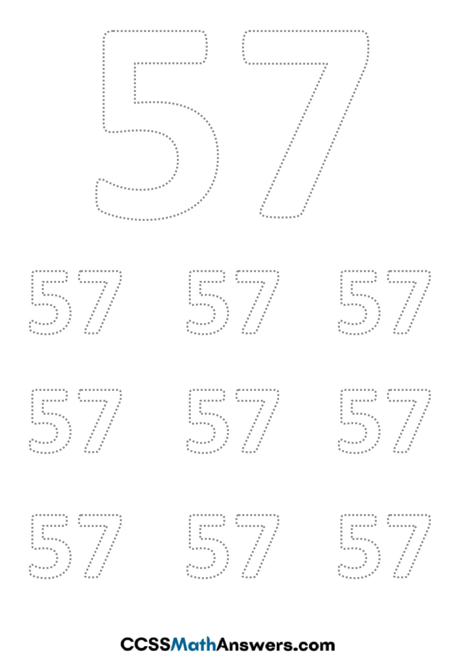 Worksheet on Number Fifty Seven