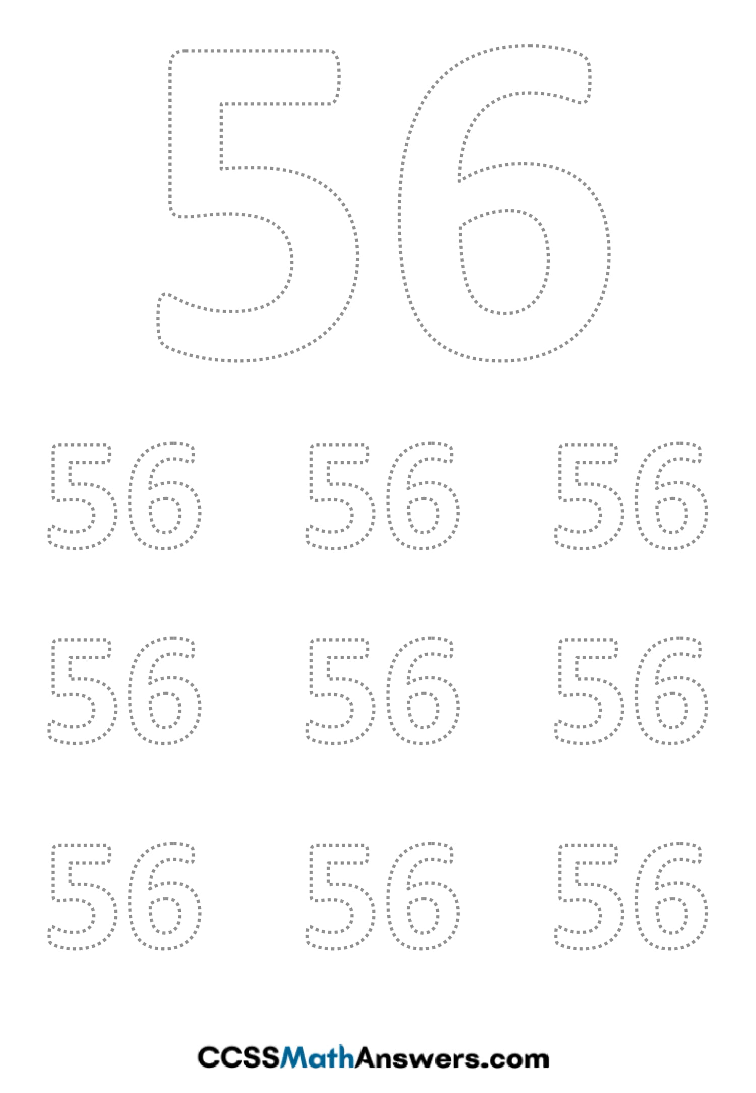 Worksheet on Number Fifty Six