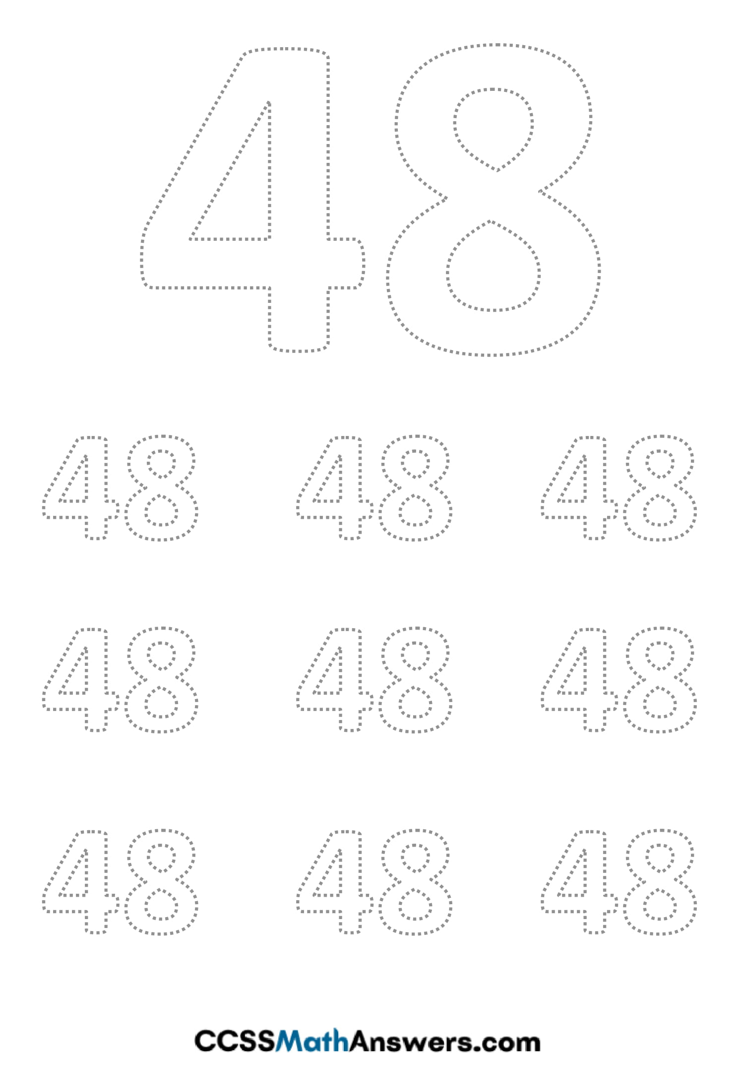 Worksheet on Number Forty Eight