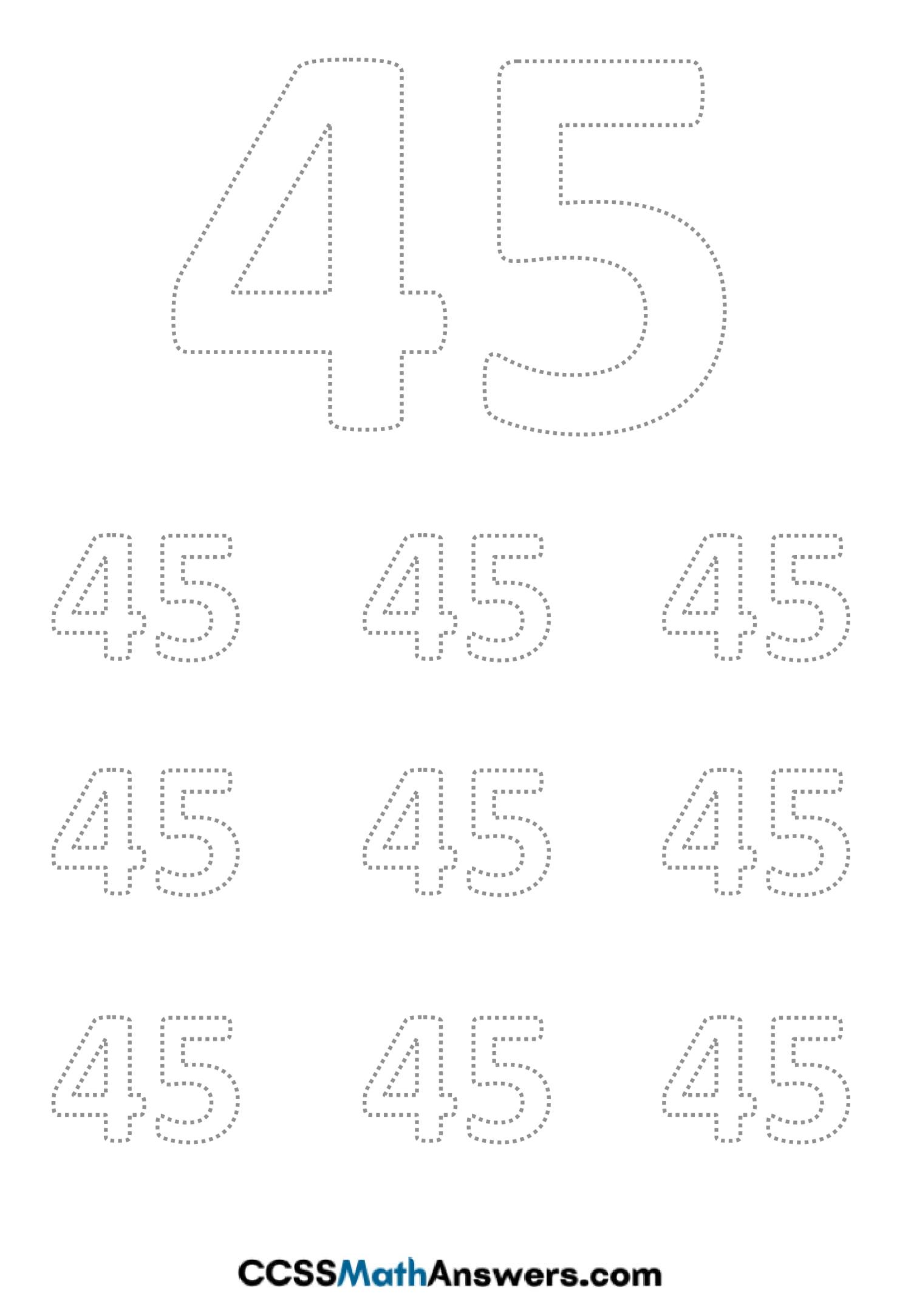 Worksheet on Number Forty Five