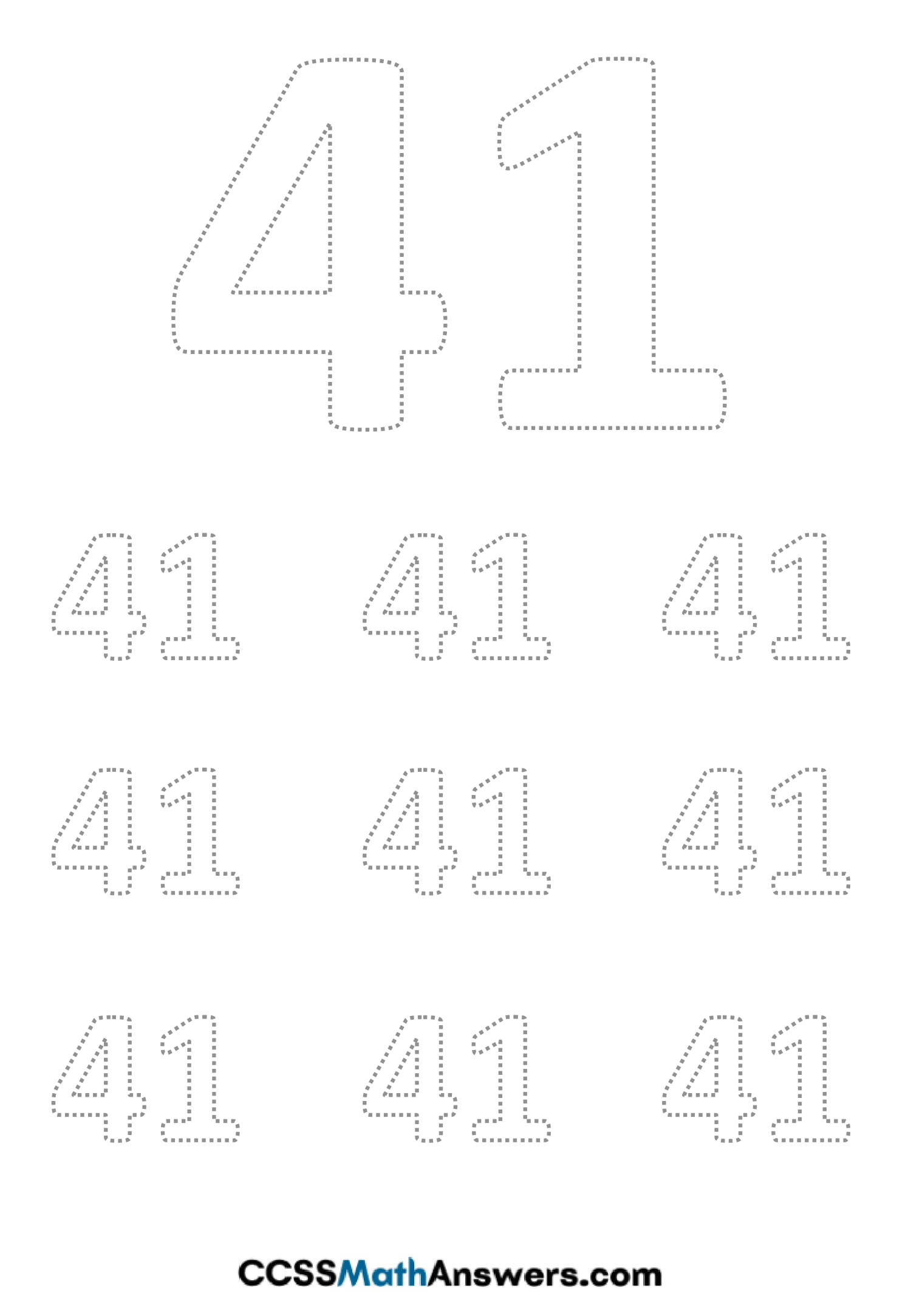 Worksheet on Number Forty One