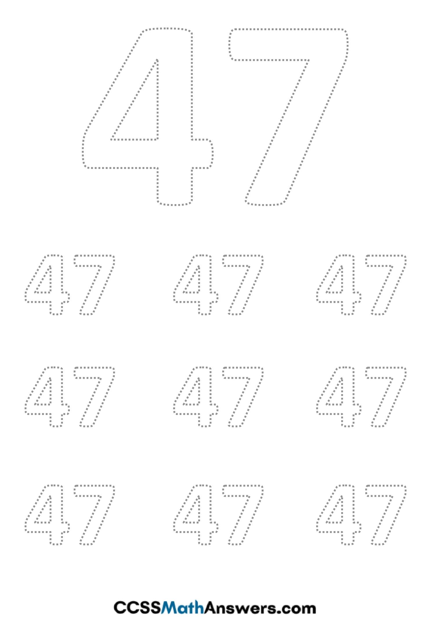 Worksheet on Number Forty Seven
