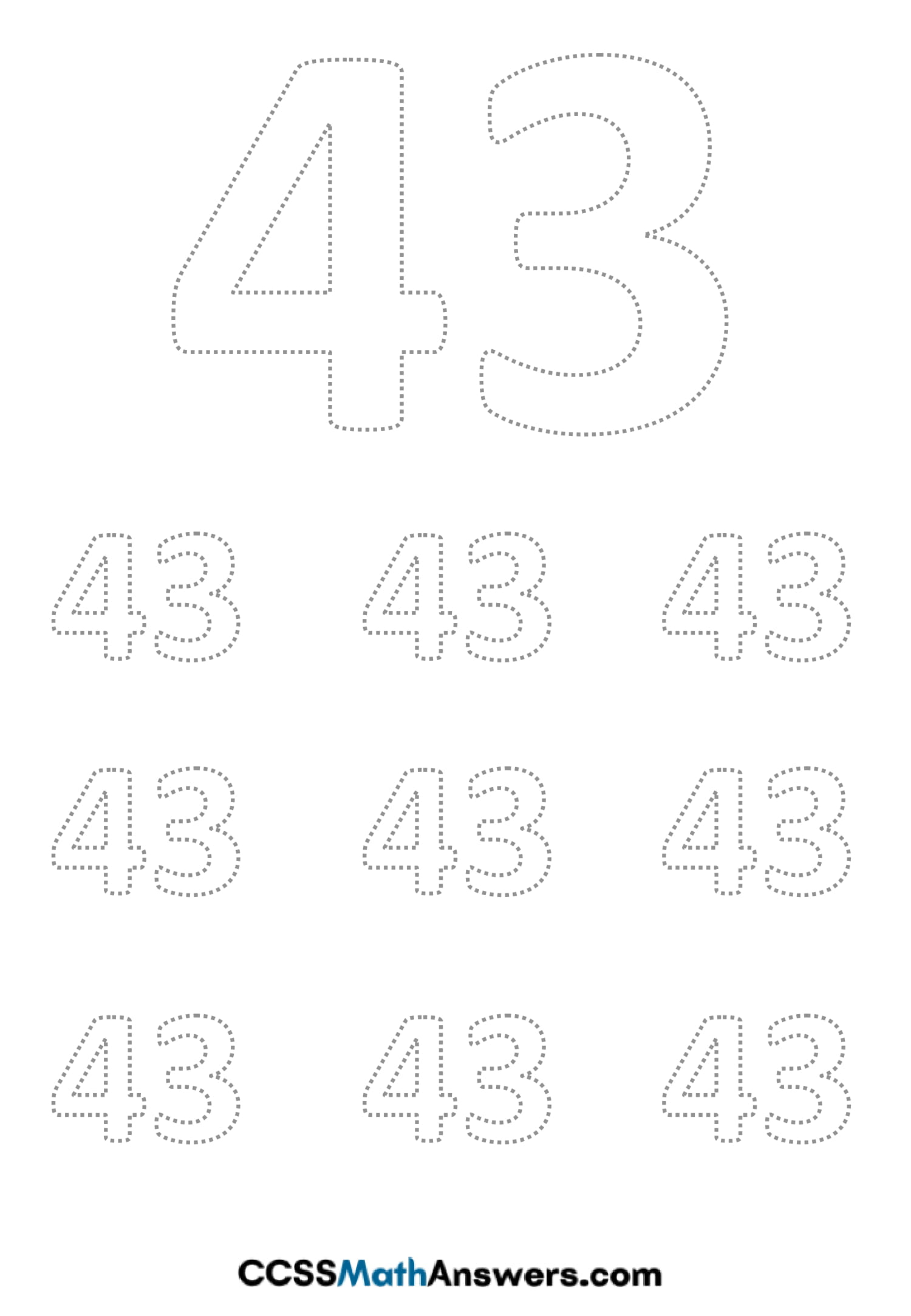 Worksheet on Number Forty Three