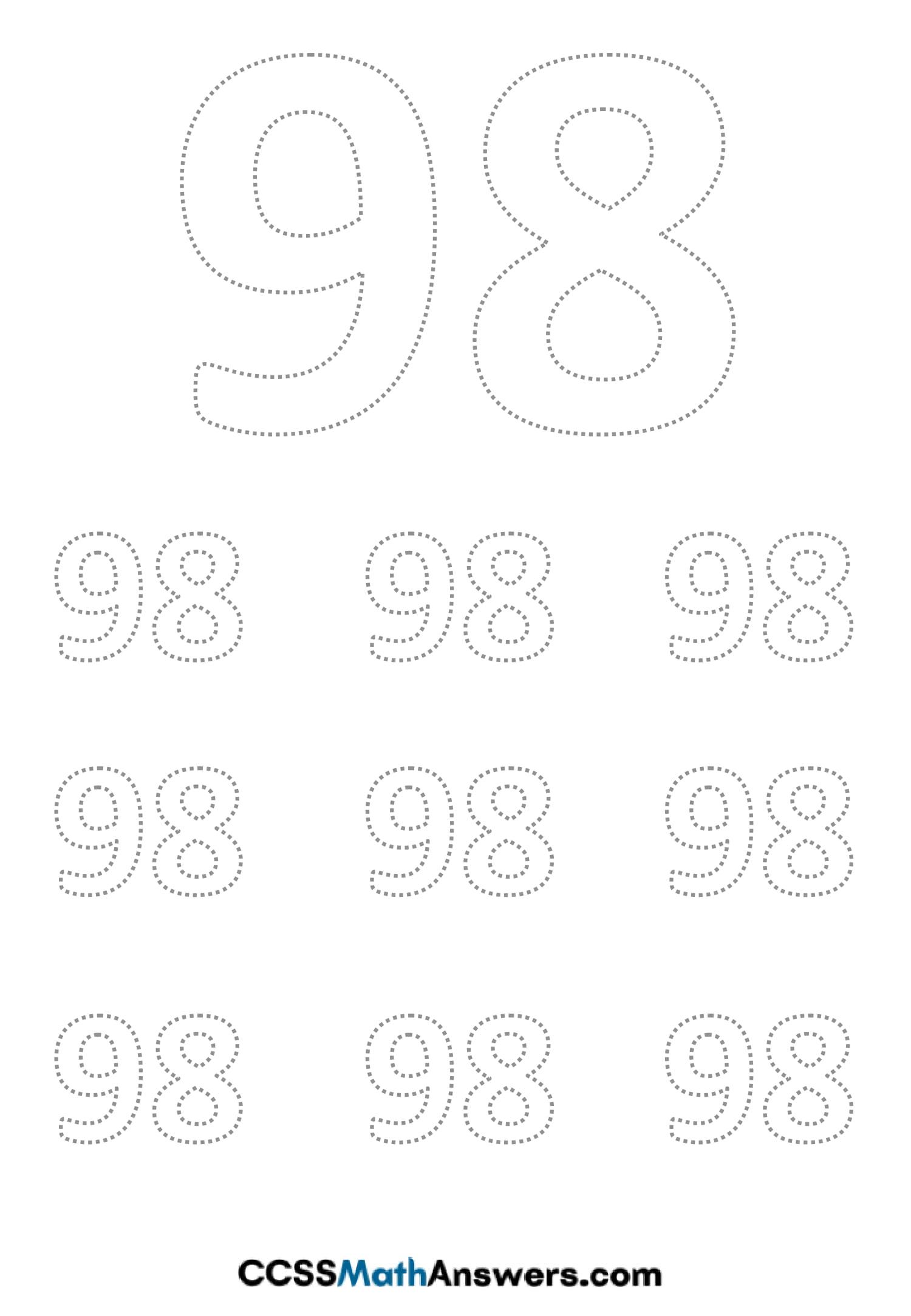 Worksheet on Number Ninty Eight
