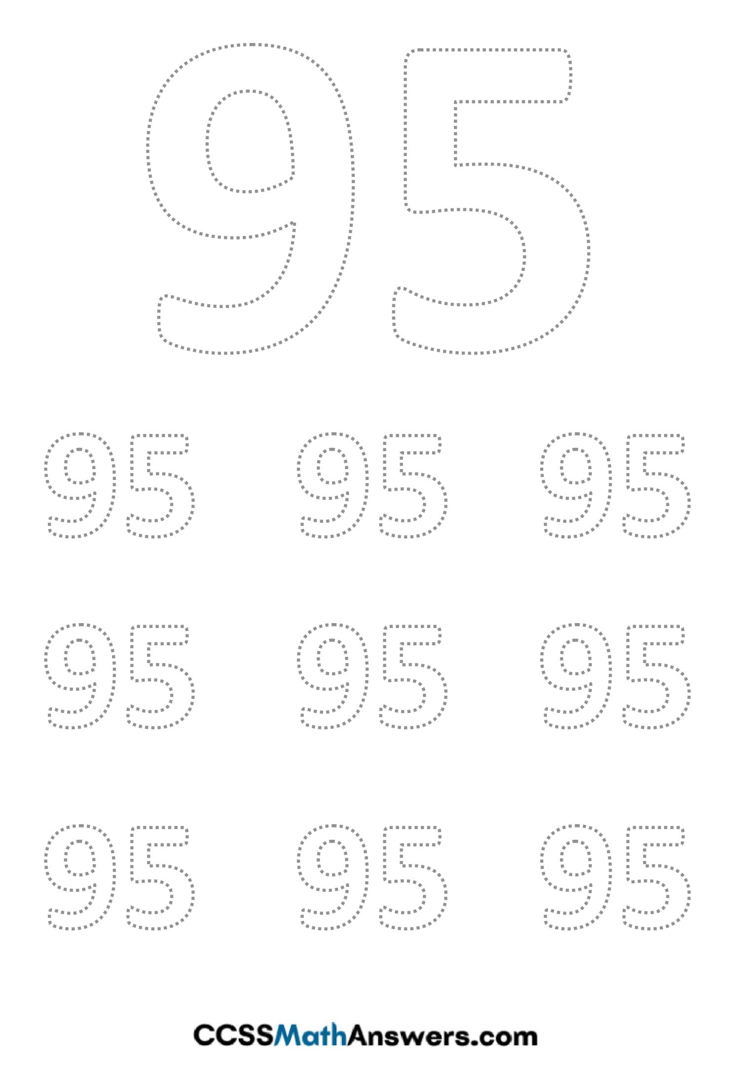 Worksheet on Number Ninty Five