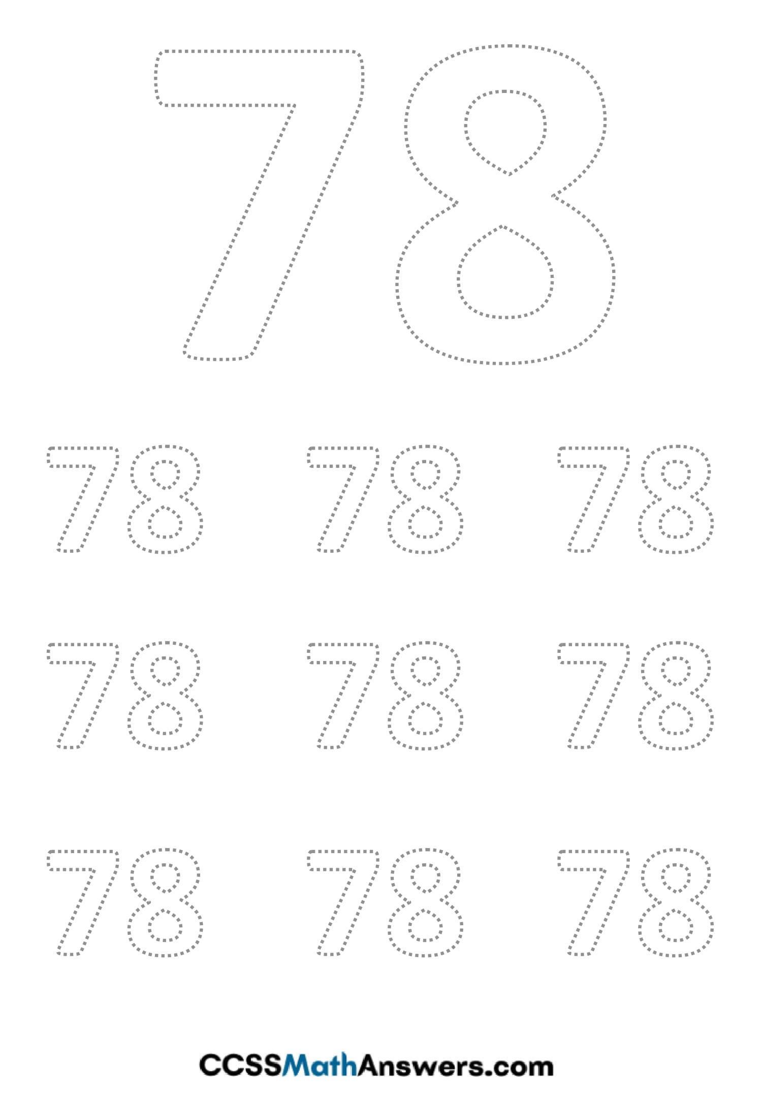 Worksheet on Number Seventy Eight