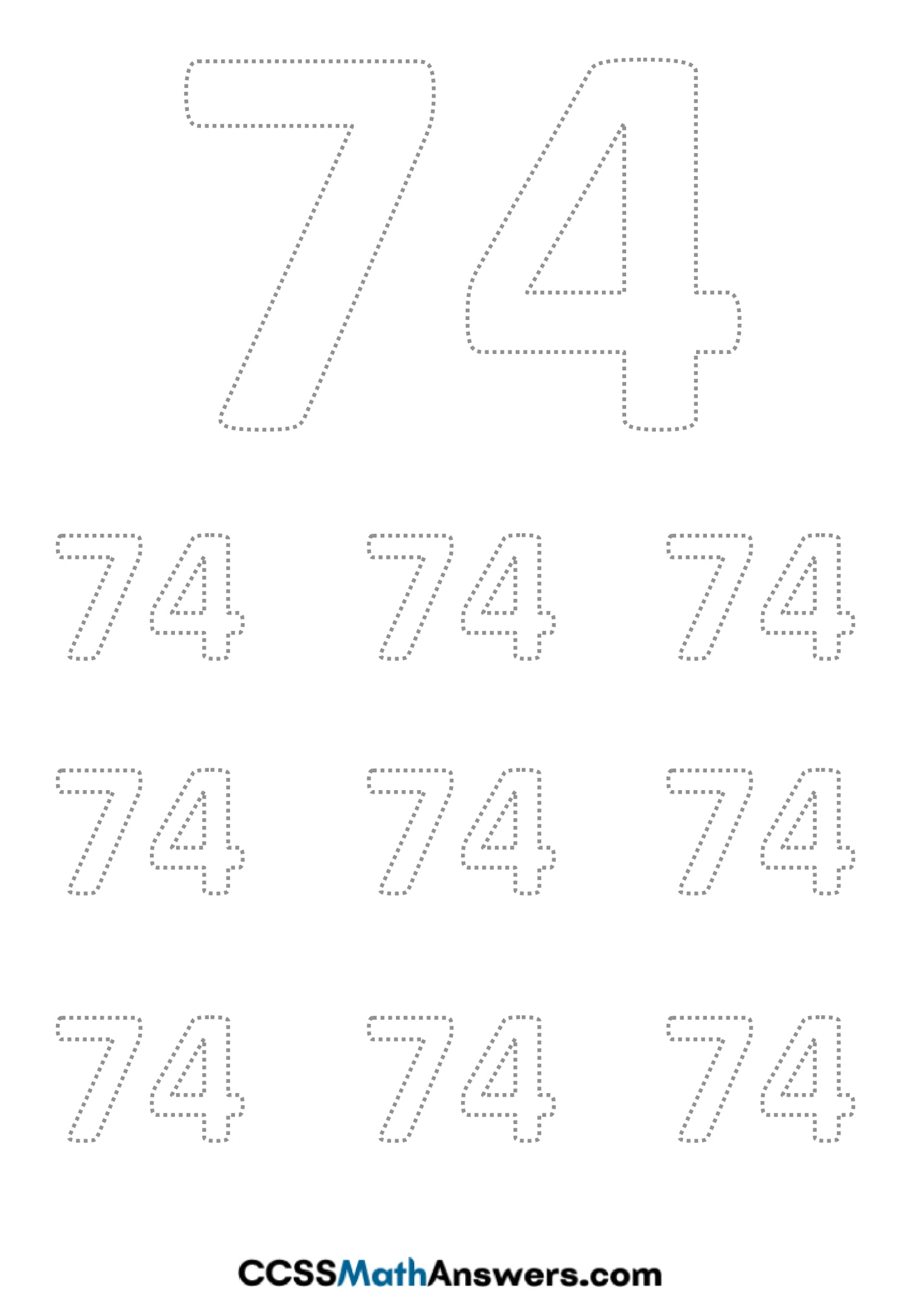 Worksheet on Number Seventy Four
