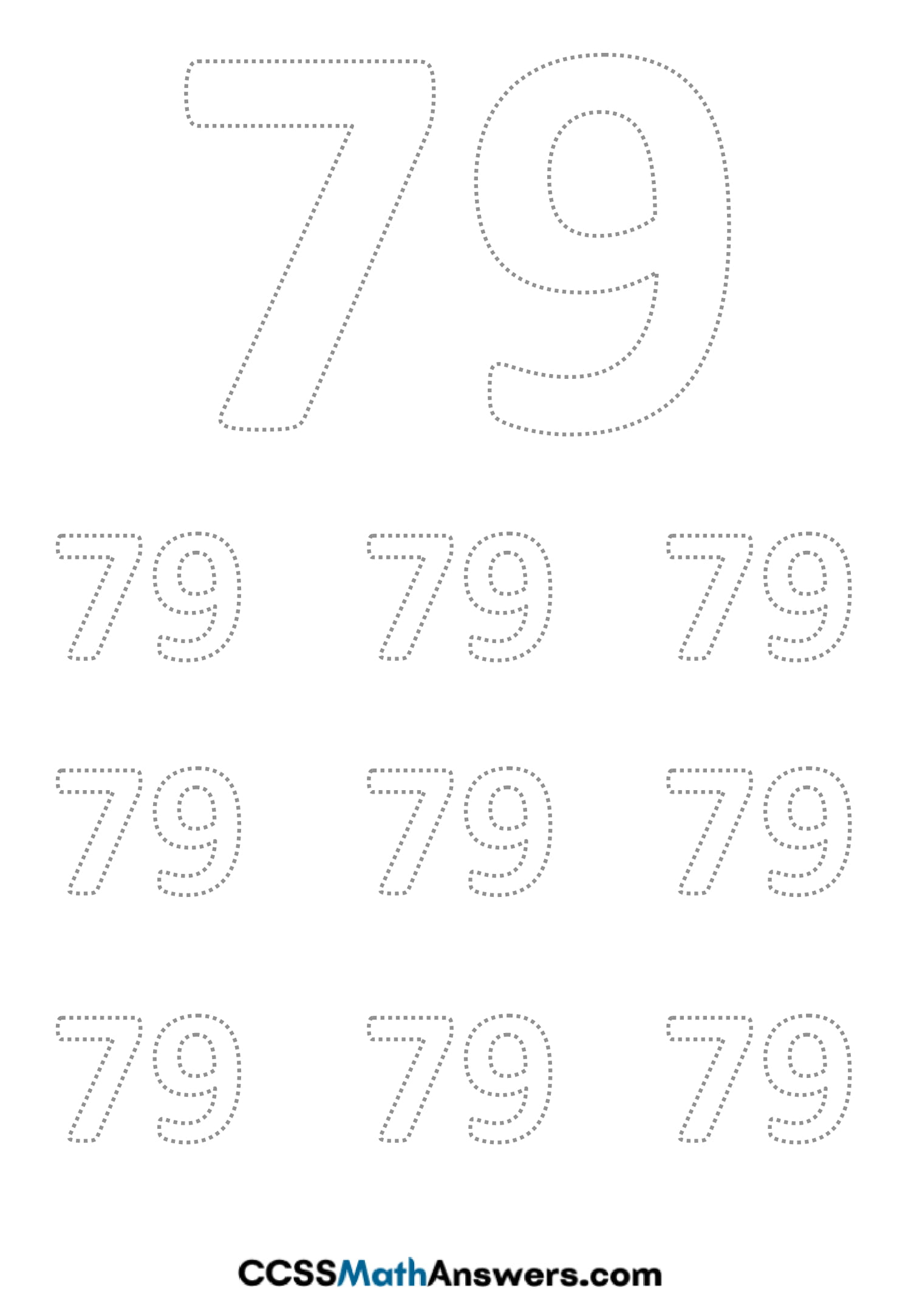 Worksheet on Number Seventy Nine