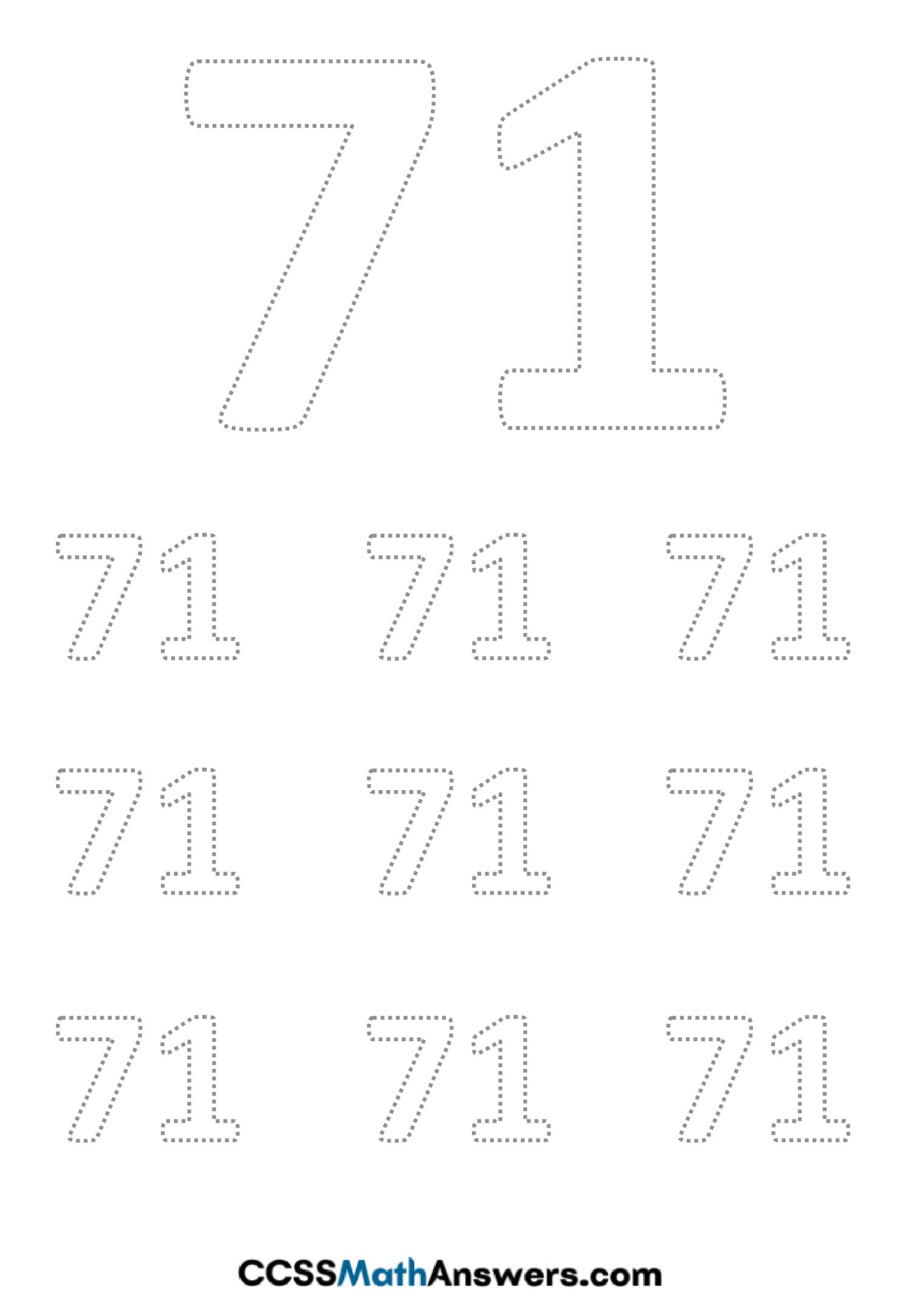 Worksheet on Number Seventy One