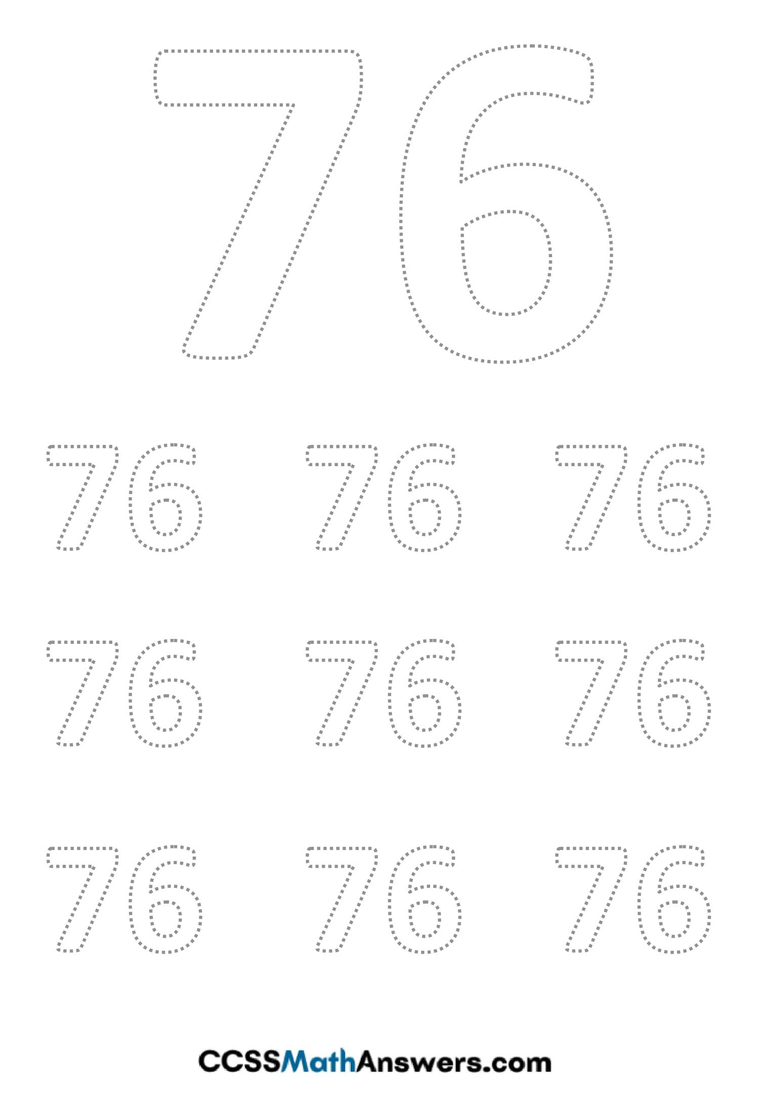 Worksheet on Number Seventy Six