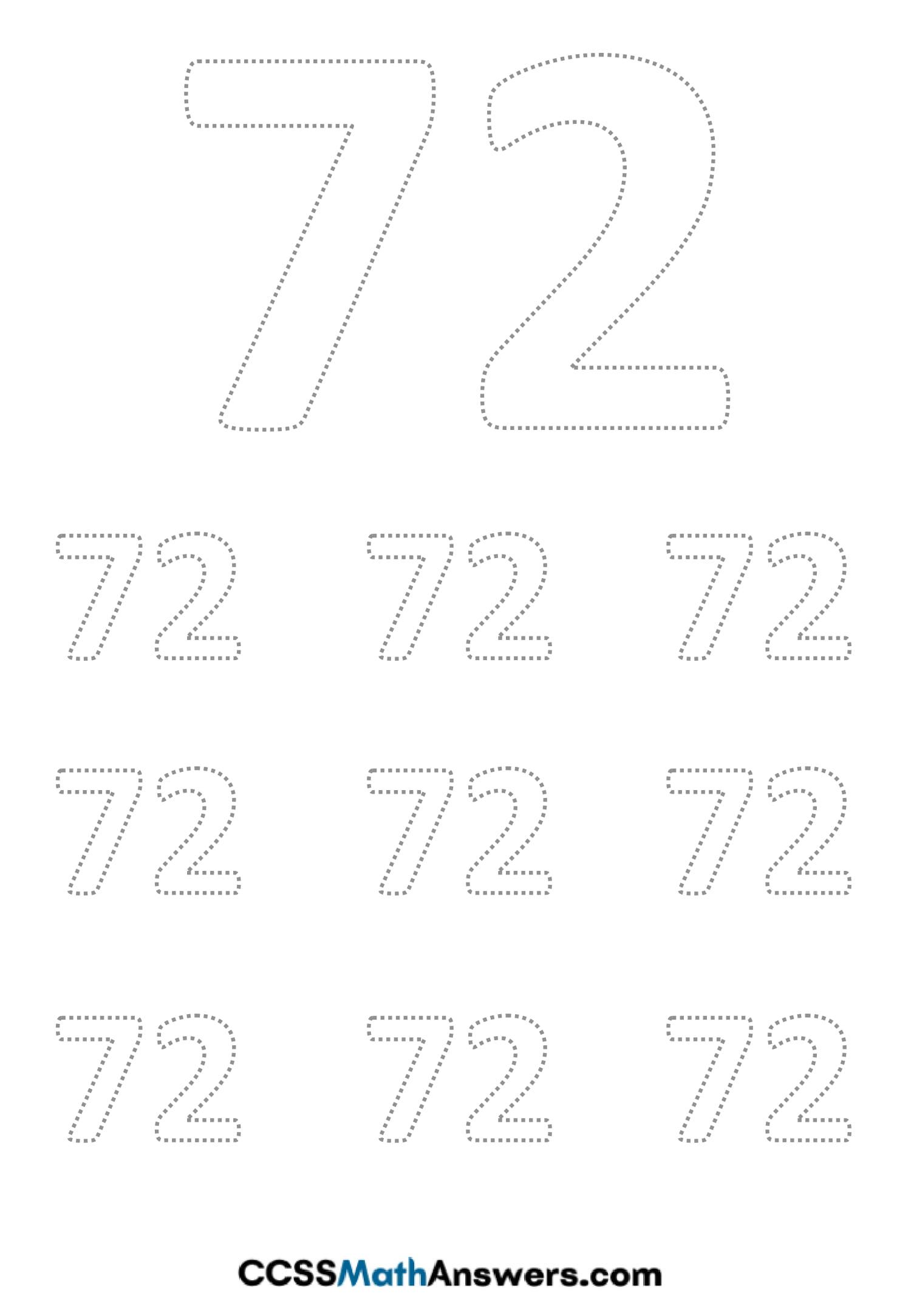 Worksheet on Number Seventy Two