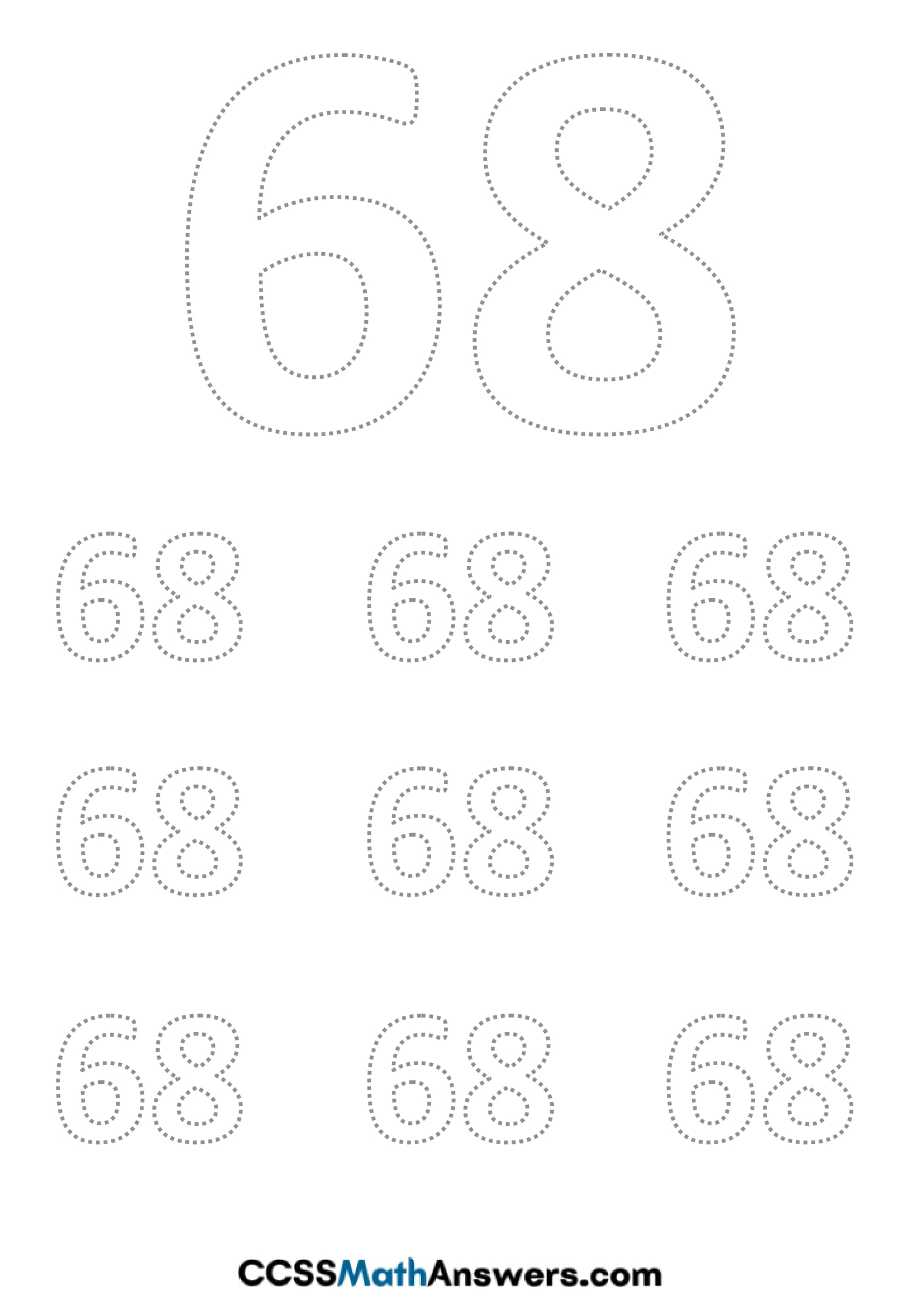 Worksheet on Number Sixty Eight