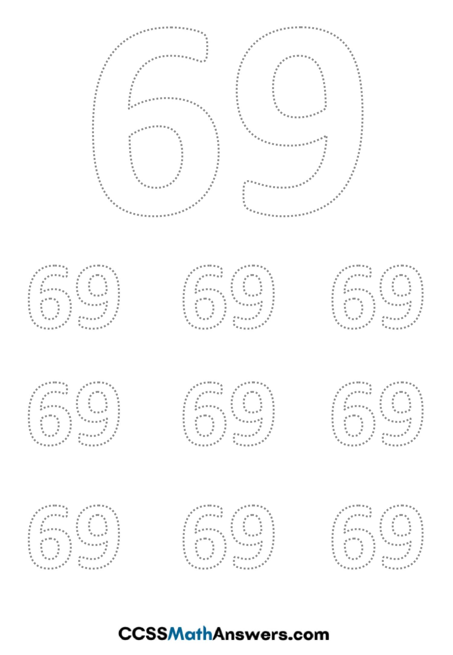 Worksheet on Number Sixty Nine