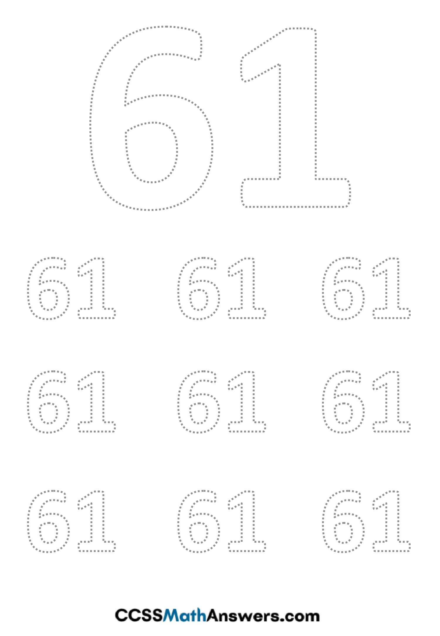 Worksheet on Number Sixty One