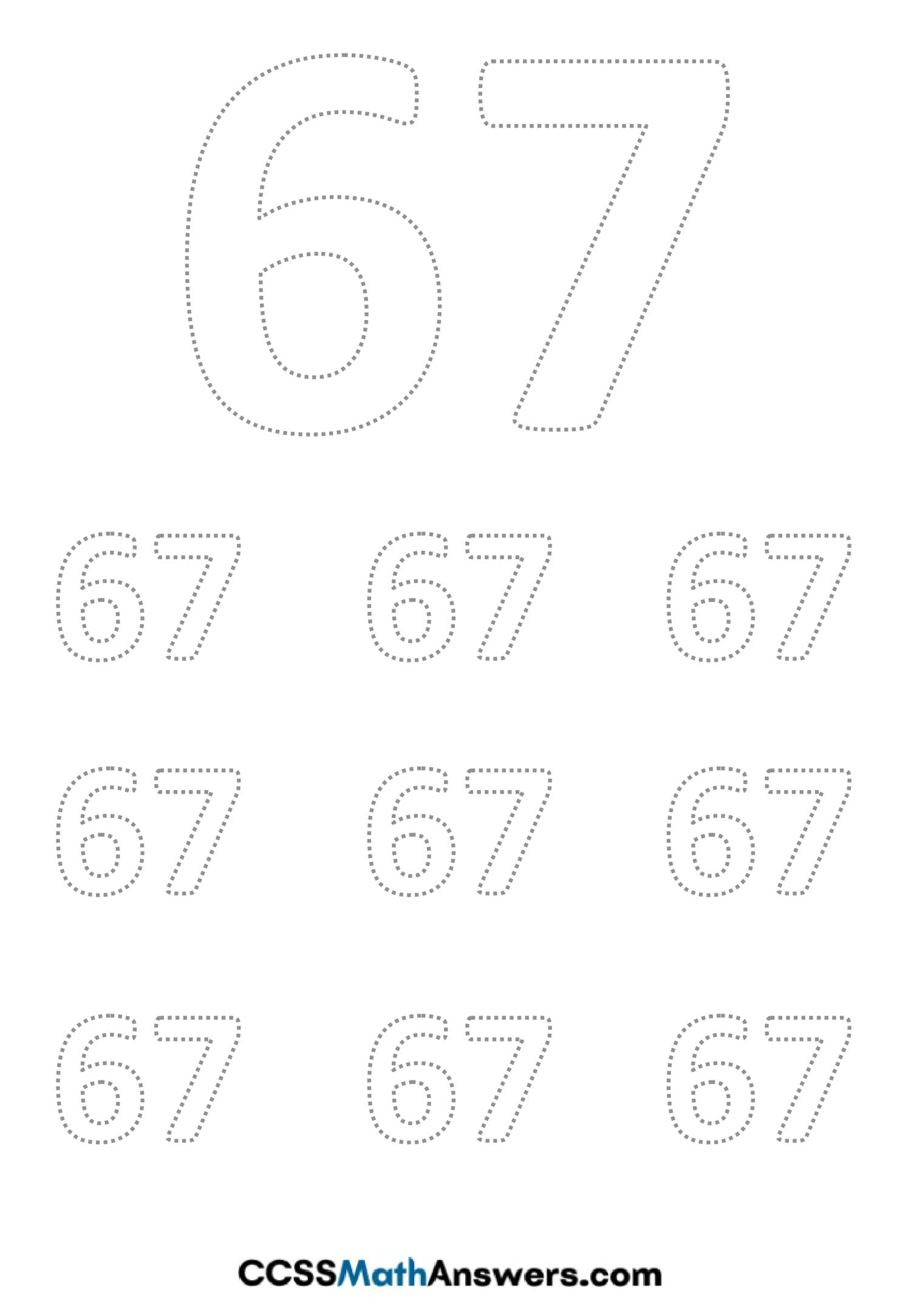 Worksheet on Number Sixty Seven