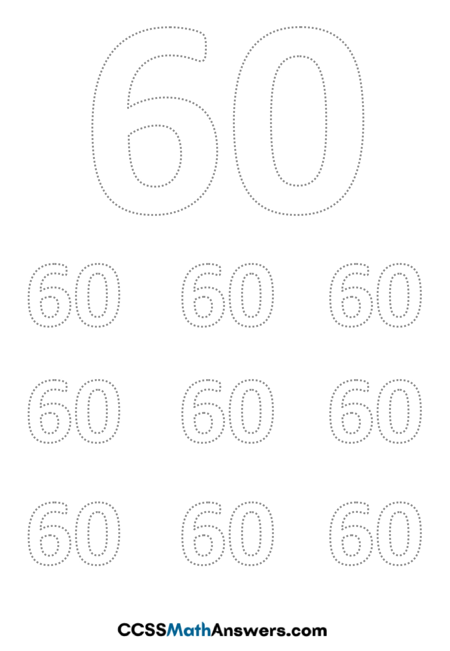 Worksheet on Number Sixty